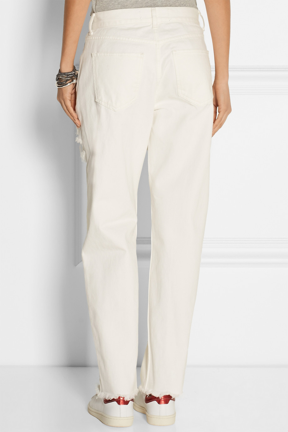 Topshop Distressed High-Rise Boyfriend Jeans in White | Lyst