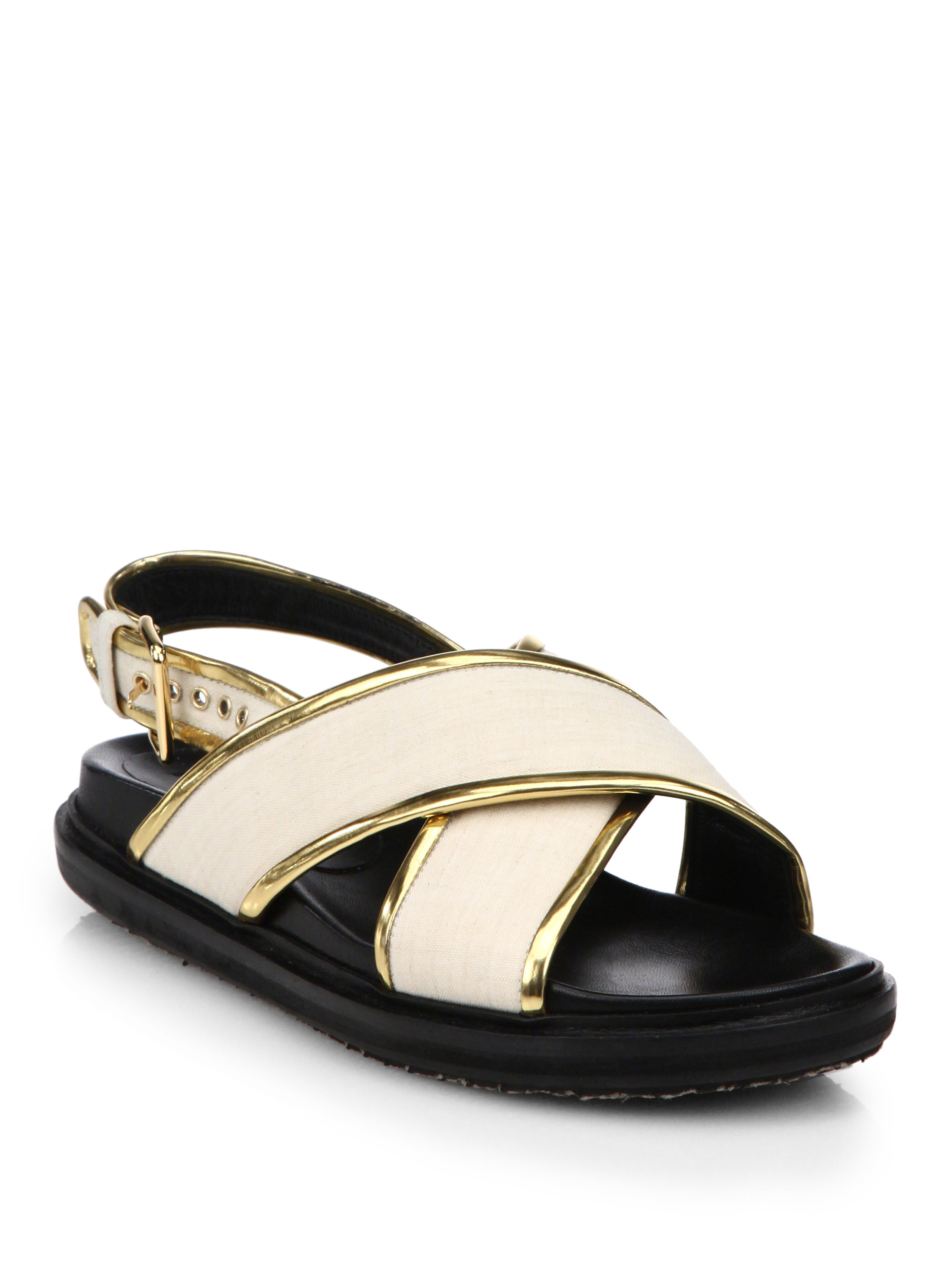 Marni Metallic Leather-Trimmed Sandals get to buy cheap online w2YQqWRBW