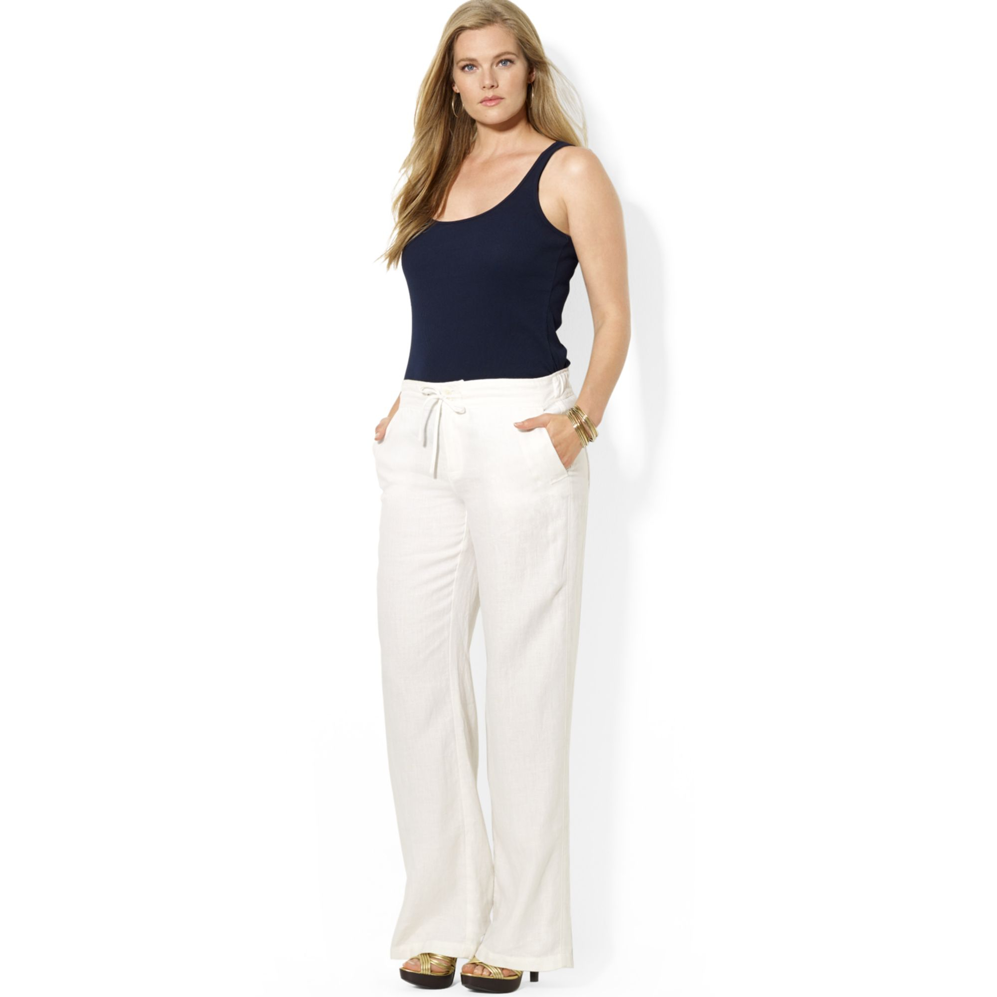 lyst lauren by ralph lauren plus size wideleg linen pants in white. Black Bedroom Furniture Sets. Home Design Ideas