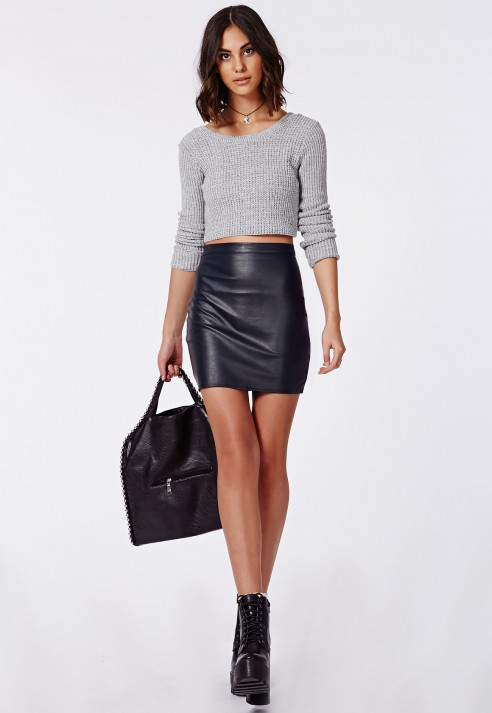 Missguided Rica Faux Leather Mini Skirt Navy in Blue | Lyst
