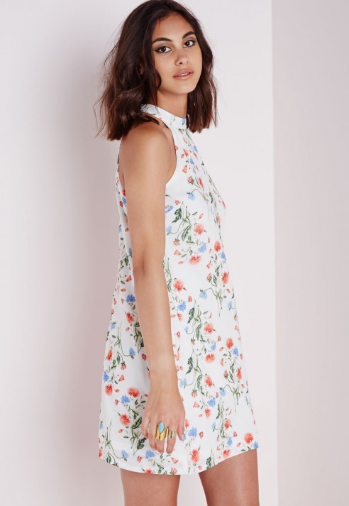 1d118c6720c2d Missguided High Neck Swing Dress White Floral in White - Lyst