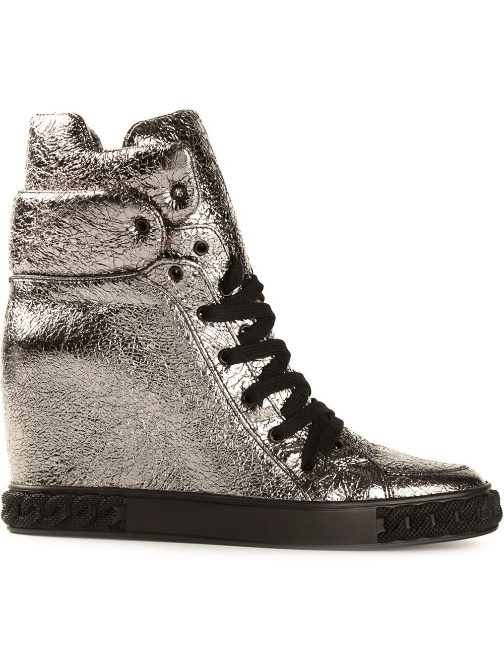 4c5e9c44e5c Lyst - Casadei Concealed Wedge Hightop Sneakers in Metallic