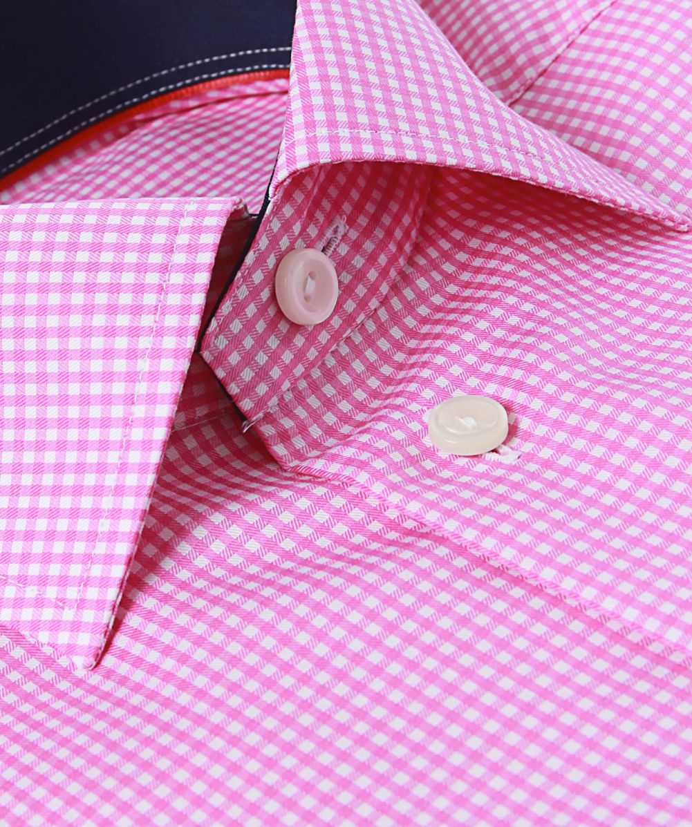 Lyst Eton Of Sweden Slim Fit Micro Gingham Shirt In Pink For Men
