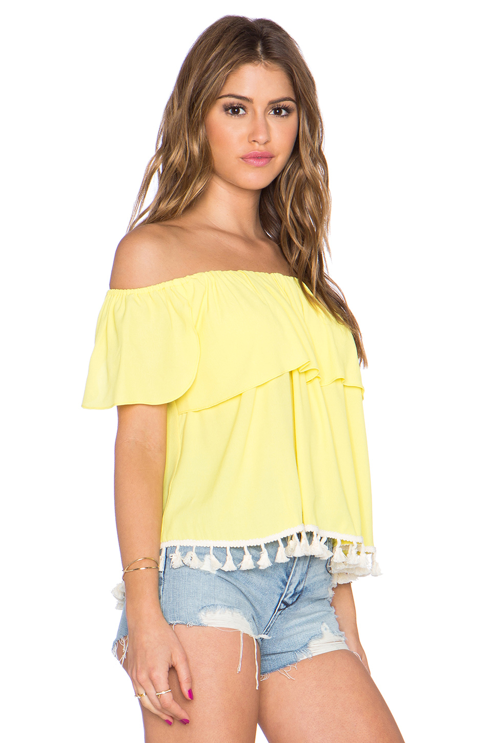 16c209f8d41007 Lyst - T-bags Off The Shoulder Top in Yellow