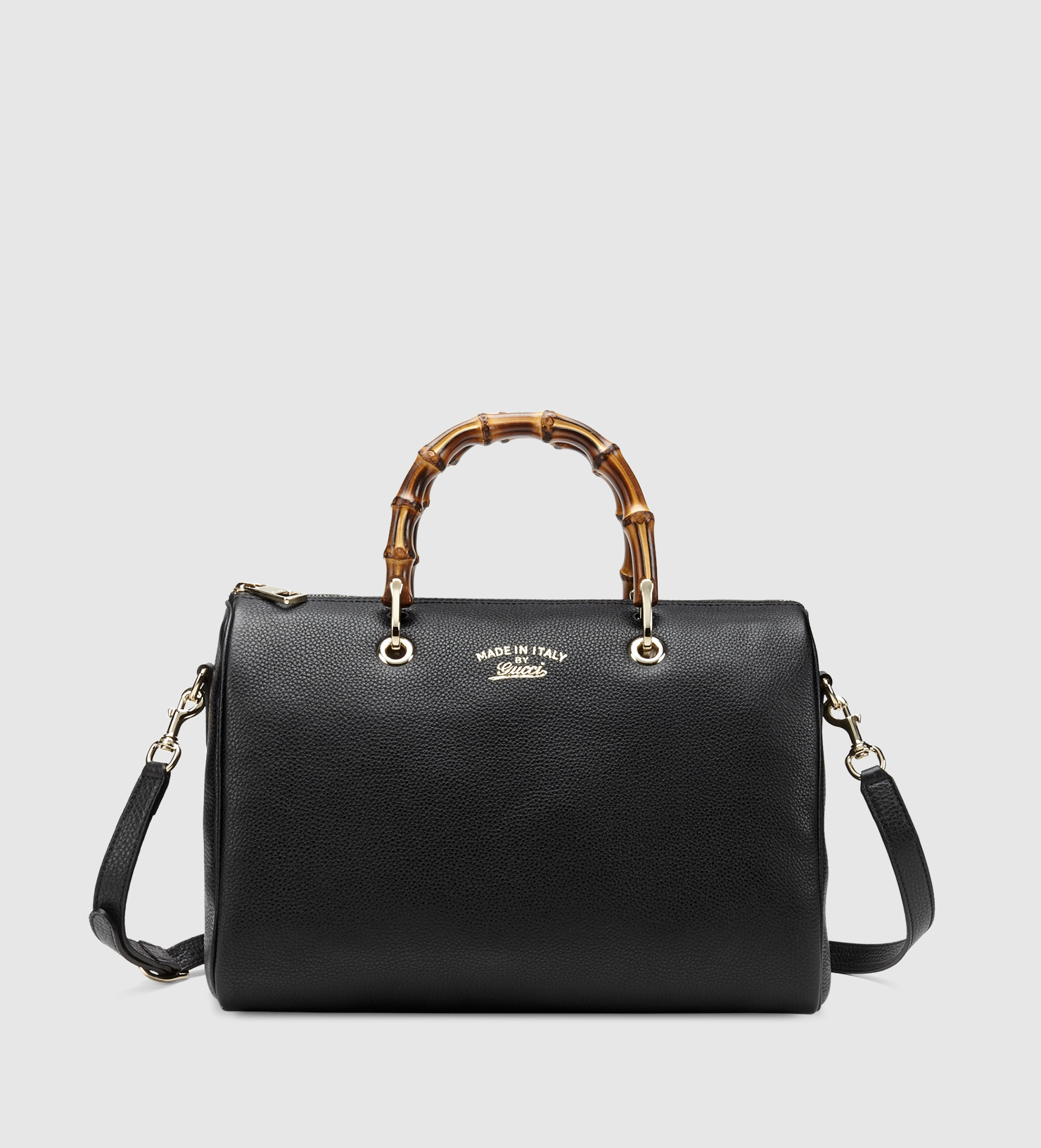 lyst gucci bamboo shopper leather boston bag in black. Black Bedroom Furniture Sets. Home Design Ideas