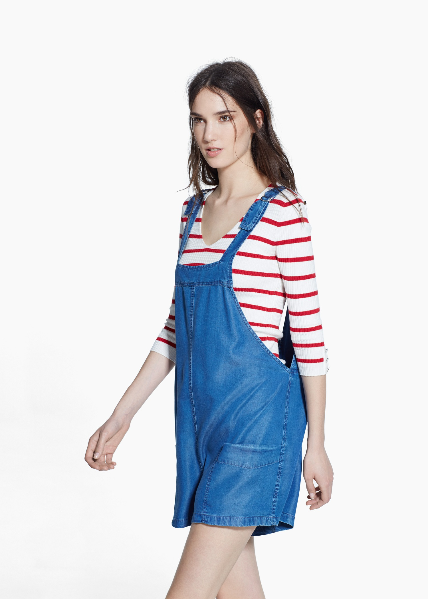 Lyst - Mango Soft Short Dungarees in Blue