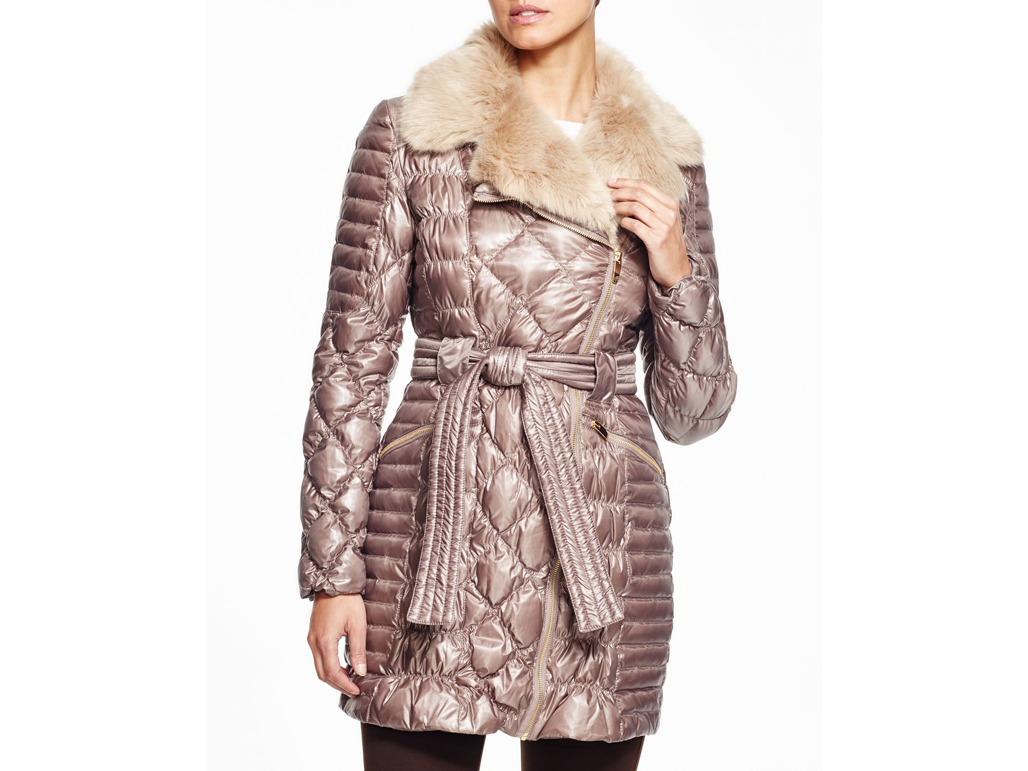 Via Spiga Faux Fur Trim Quilted Coat In Pink Lyst