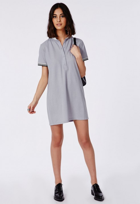 Missguided Polo T-shirt Mini Dress Grey in Gray | Lyst