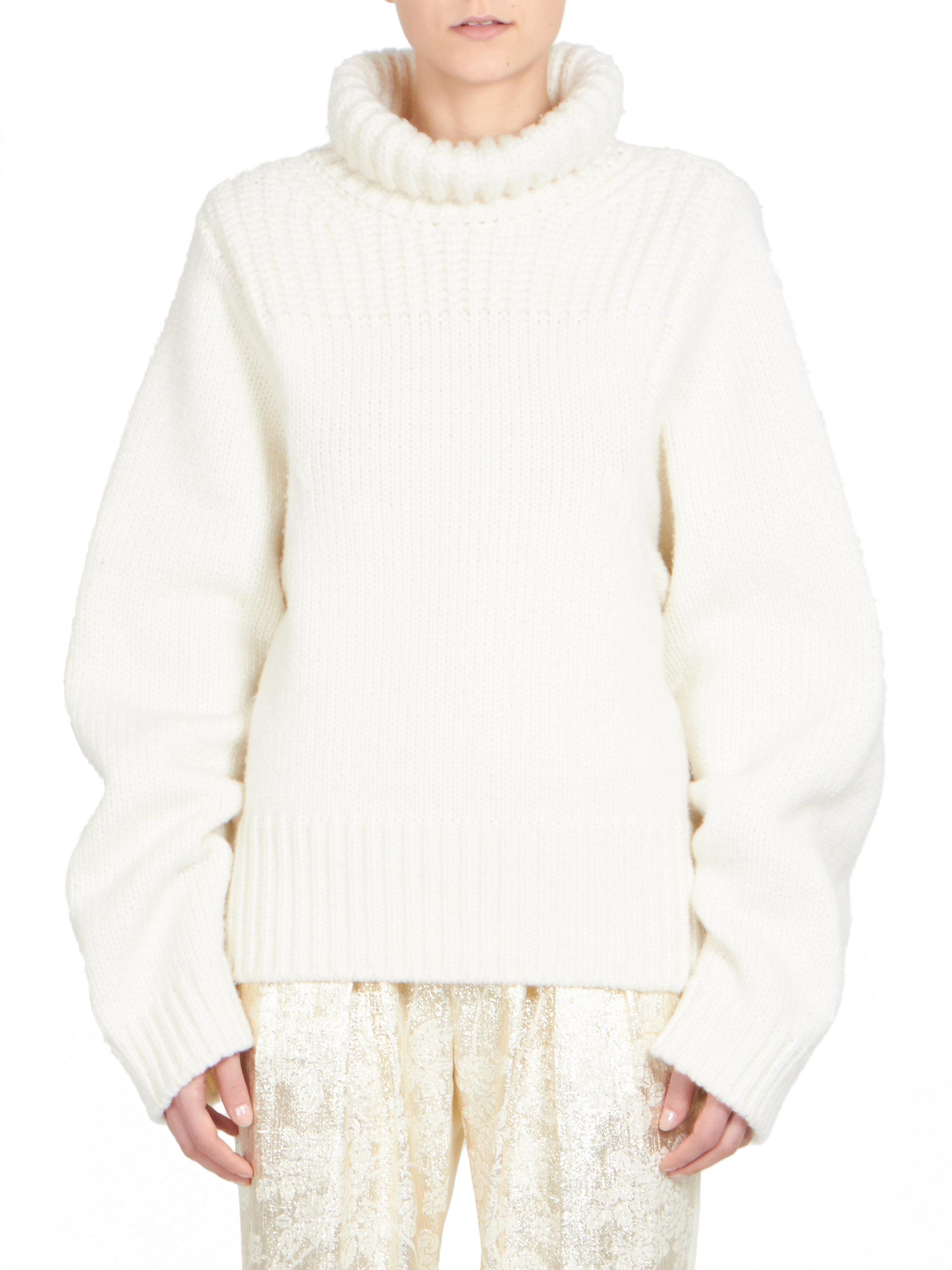 Stella mccartney Fisherman's Turtleneck Sweater in White | Lyst