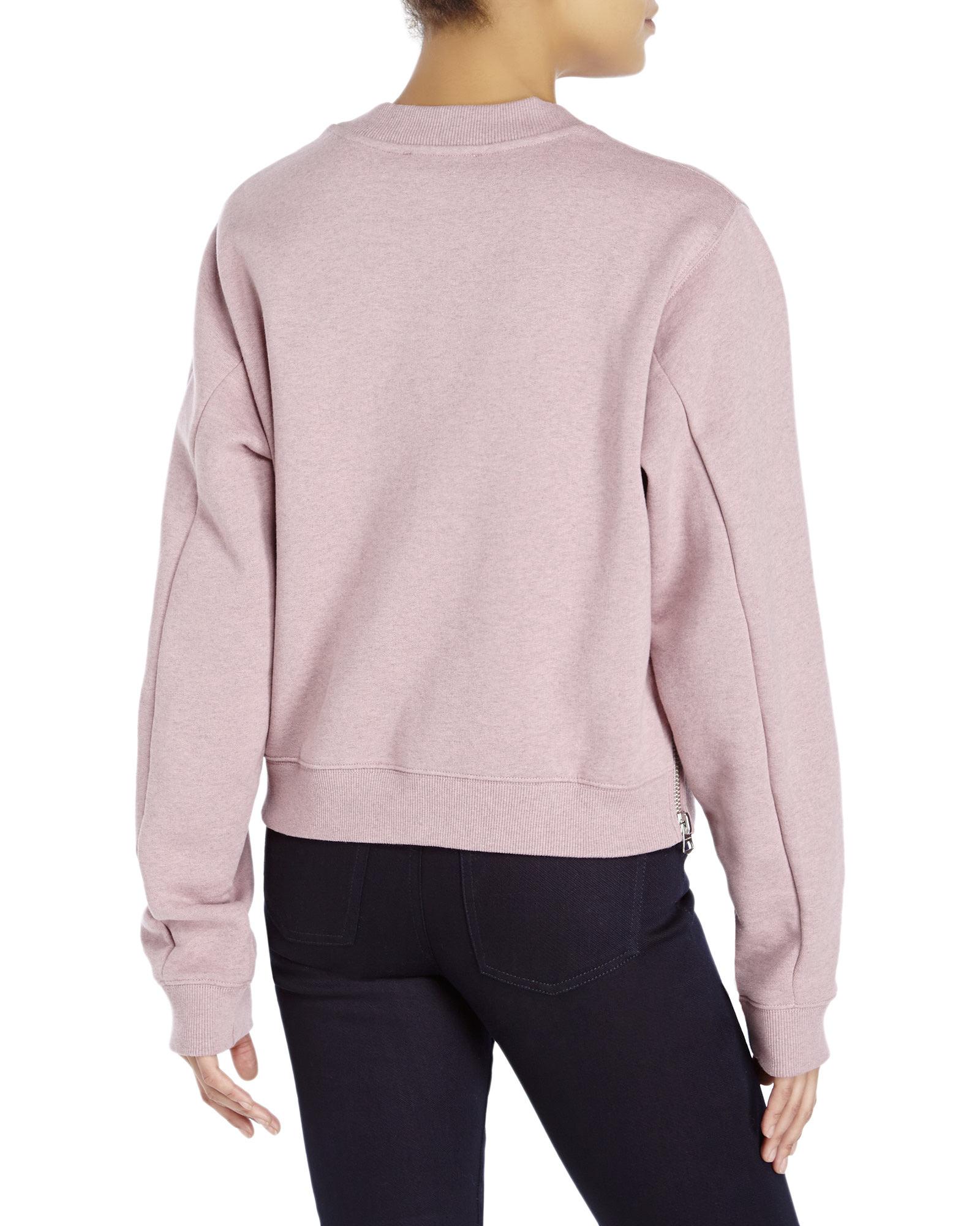 Acne studios Bird Fleece Zipper Sweatshirt in Pink | Lyst