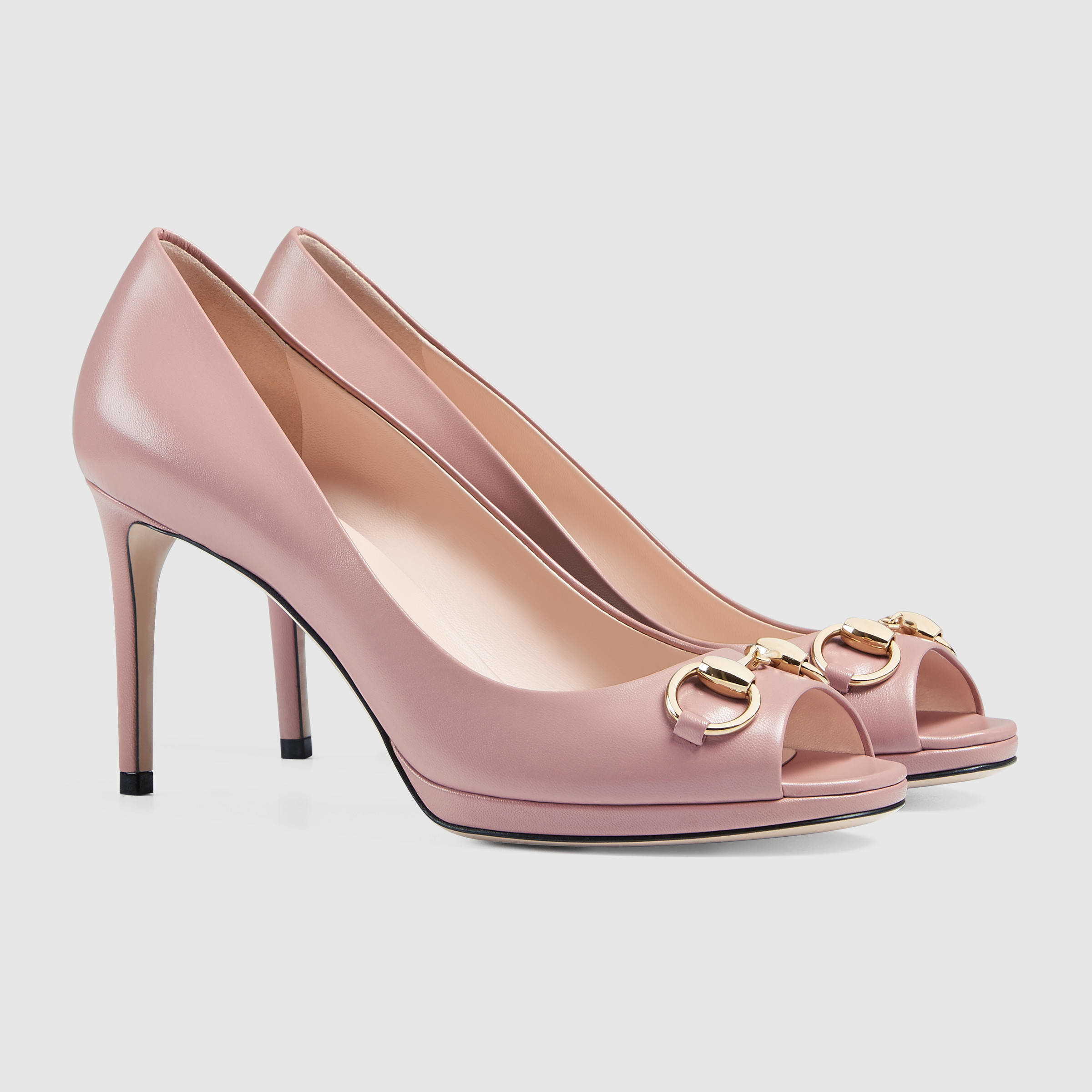 Lyst - Gucci Leather Mid-heel Pump in Pink