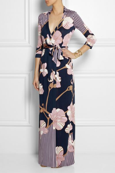 Dvf Abigail Print Silk Wrap Maxi Dress Silkjersey Wrap Maxi Dress