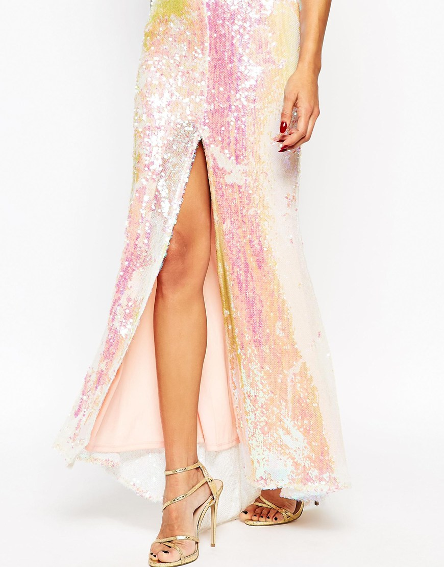 3058eaa41e ASOS Red Carpet Deep Plunge Sequin Maxi Dress - Nude in Pink - Lyst