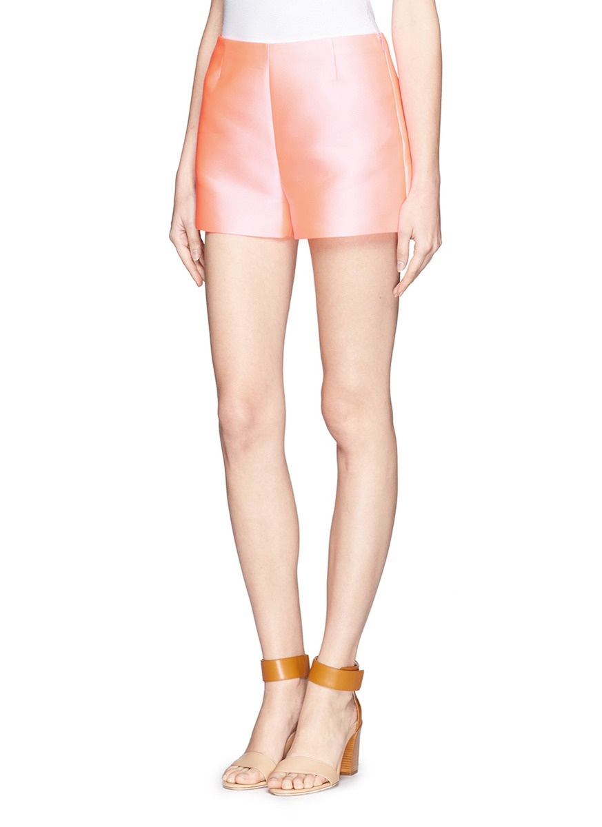 Valentino High-waisted Silk-blend Shorts in Pink | Lyst