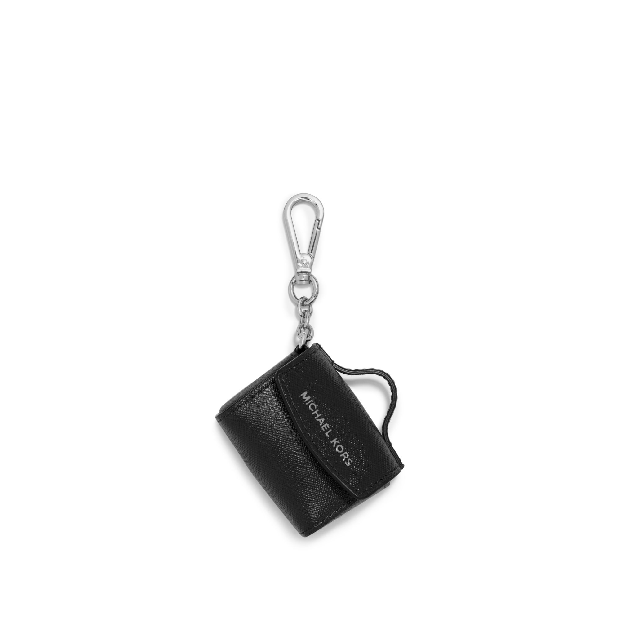 a52272f1a74d48 Michael Kors Ava Saffiano Leather Coin Purse Key Chain in Black - Lyst