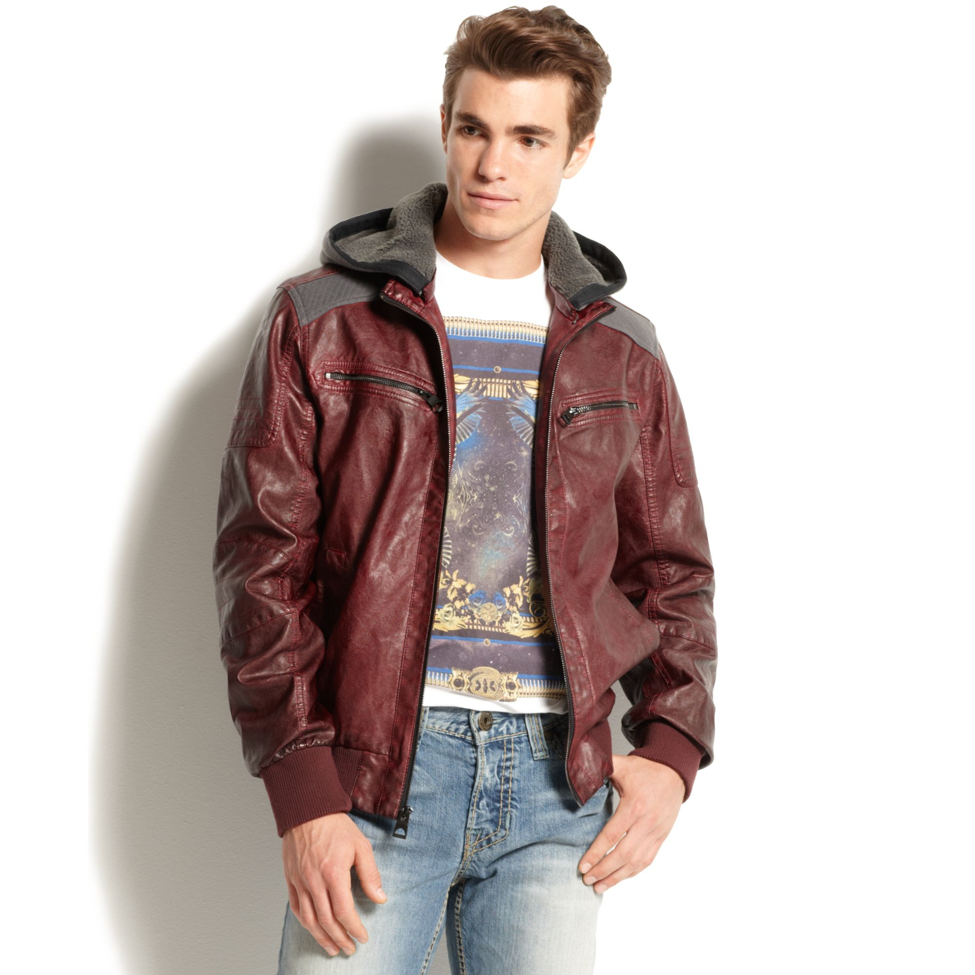 33467d4d1b859 Lyst - Guess Hooded Faux Leather Bomber Jacket in Red for Men