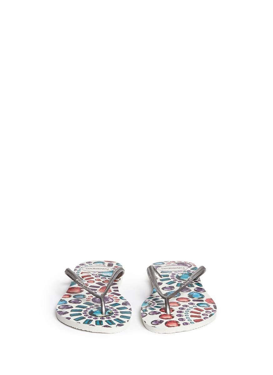 Lyst Havaianas Slim Pedras Jewel Print Flip Flops In White