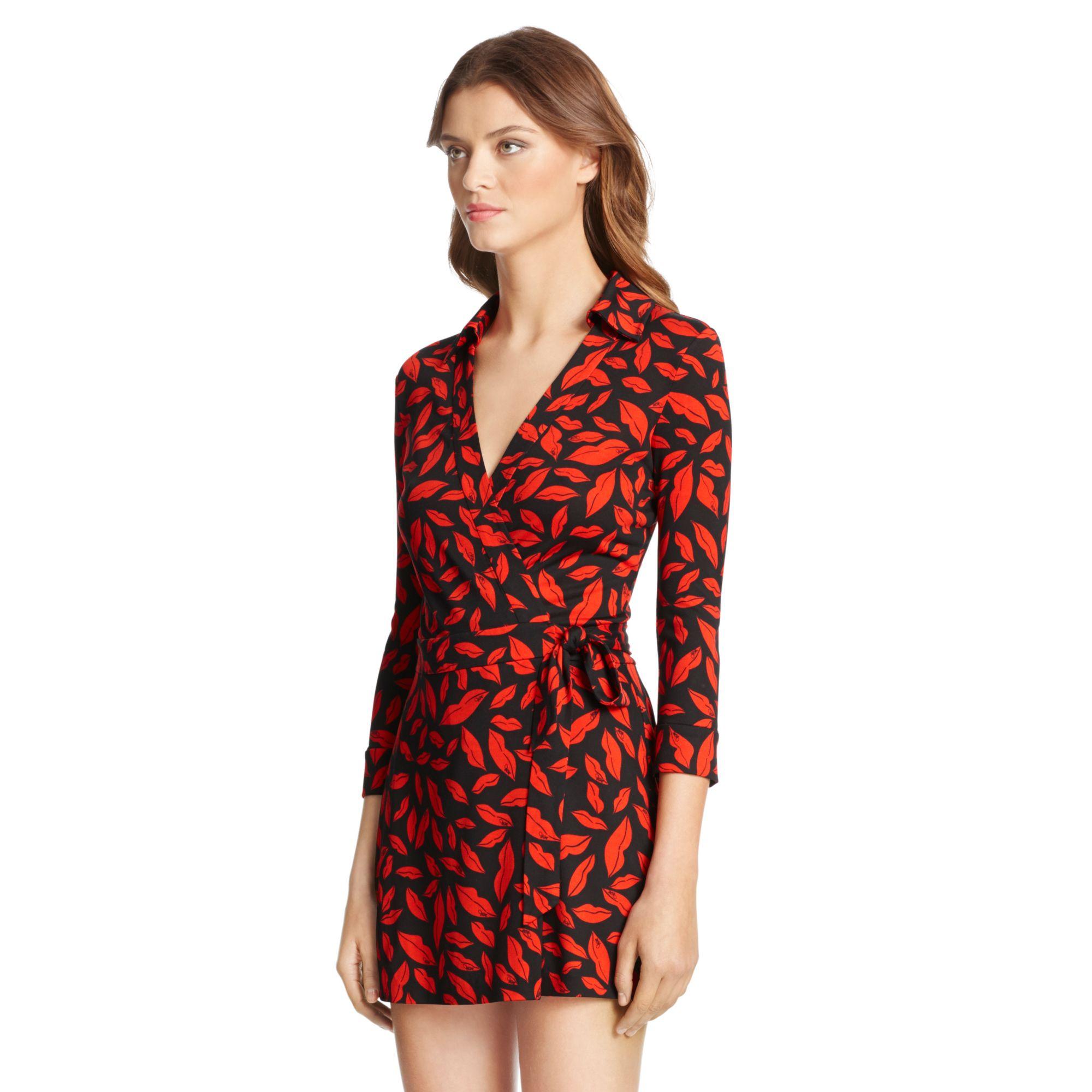 f10fbefacb Lyst - Diane von Furstenberg Celeste Silk Jersey Wrap Romper in Red
