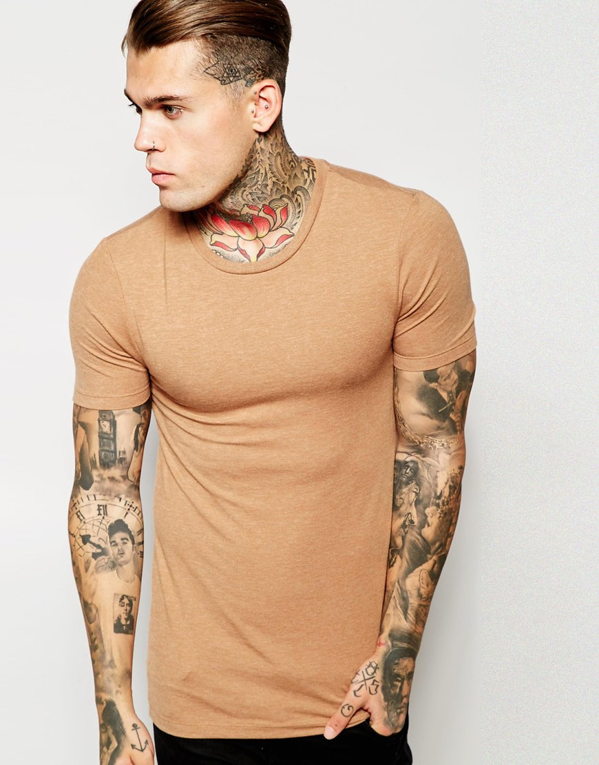 Lyst asos extreme muscle fit t shirt with crew neck in for Fitted shirts for mens