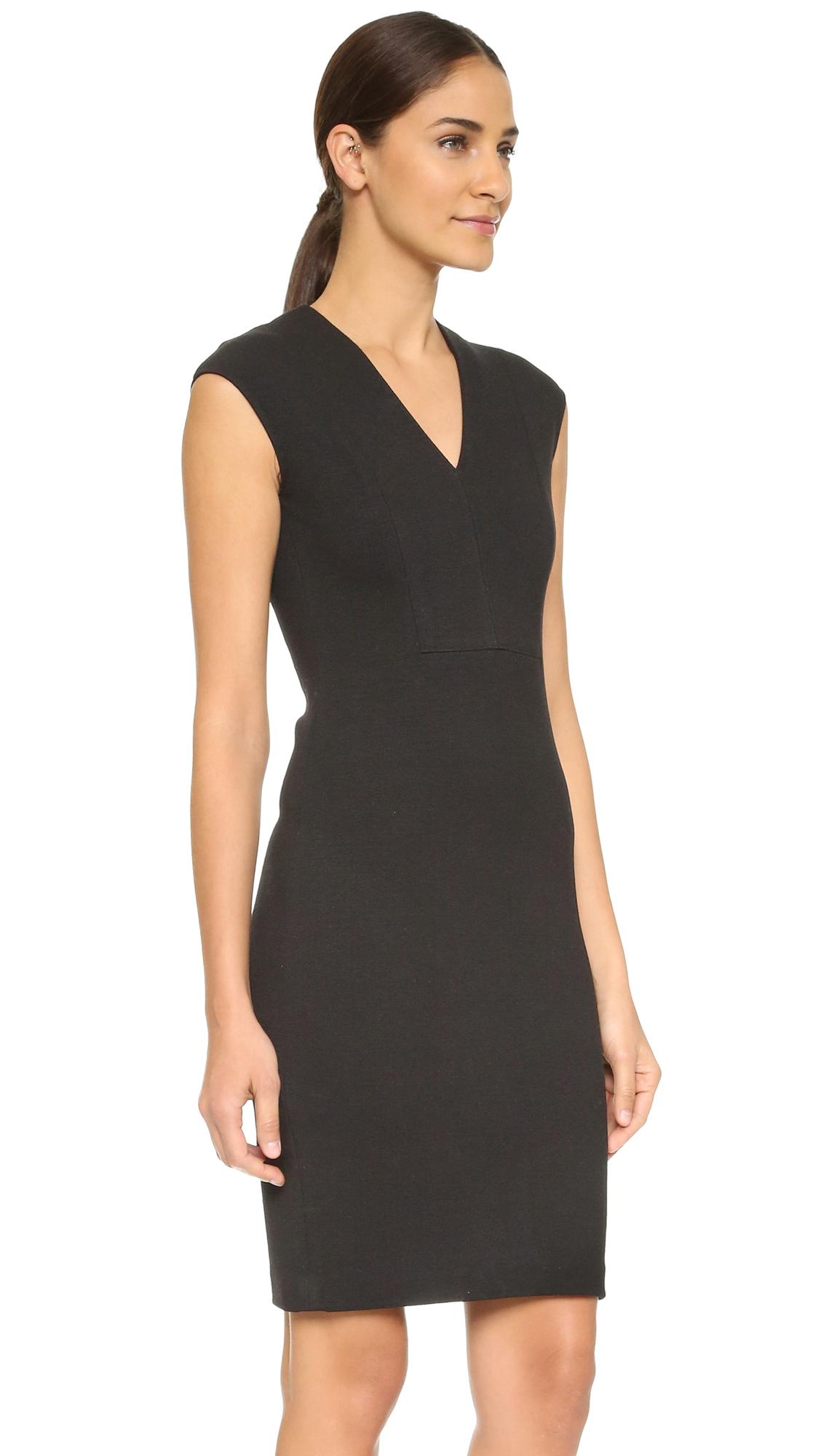 Lyst Vince V Neck Bib Sheath Dress In Black