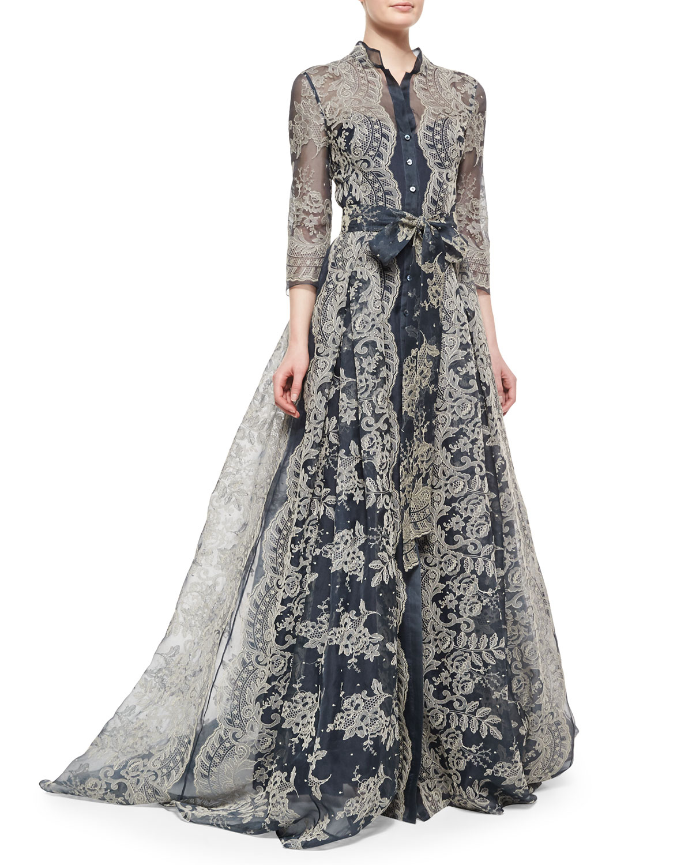 Long Sleeve Pleated Shirt Dress Carolina Herrera W49HwhCi