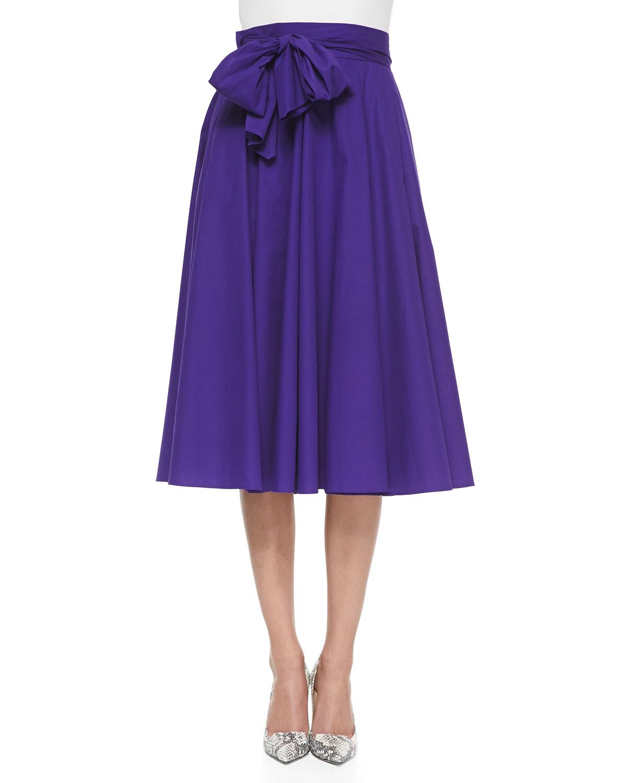 escada bow detailed circle midi skirt in purple lyst