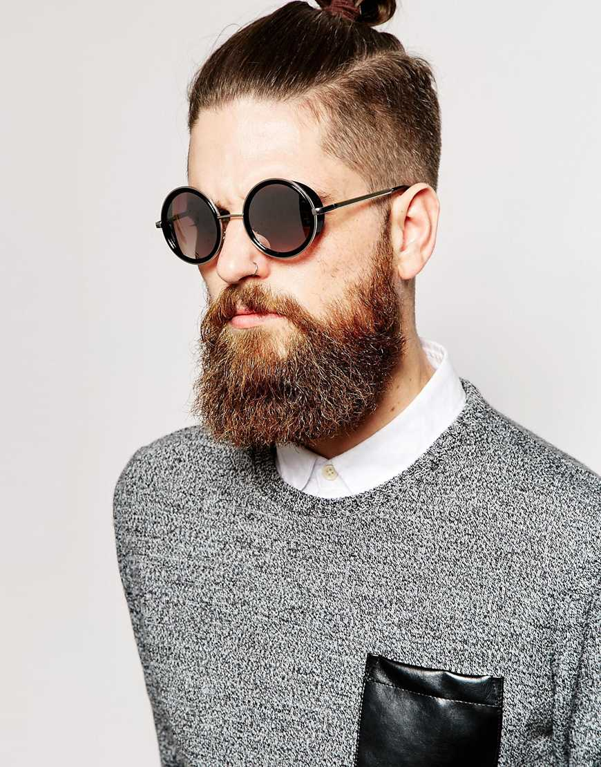 Circle Sunglasses Mens  asos round sunglasses with side cap detail in metallic for men lyst
