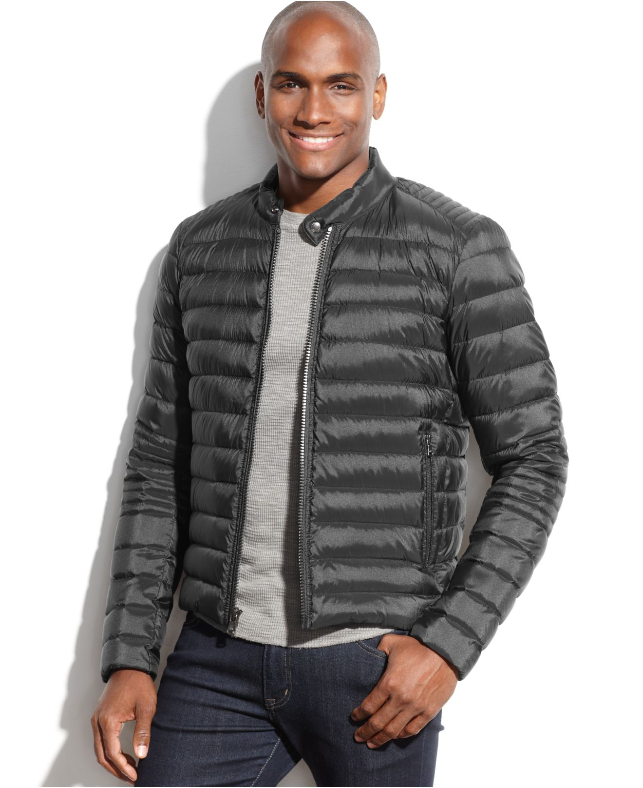Lyst Michael Kors Michael Clifton Quilted Down Moto