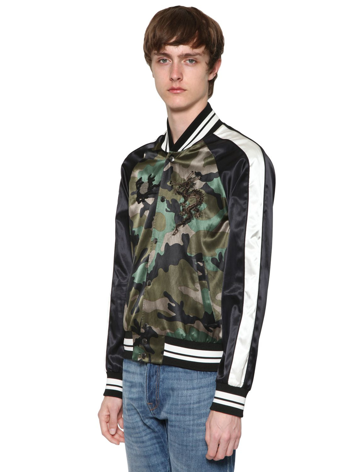 Lyst Valentino Dragon Embroidered Satin Bomber Jacket In