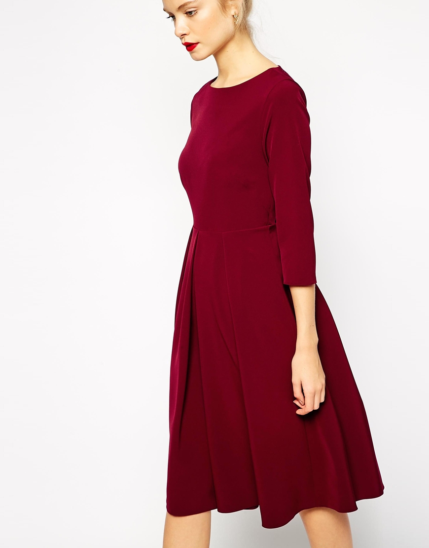 Asos Tailored Midi Dress With Pleats And Full Skirt in Purple | Lyst