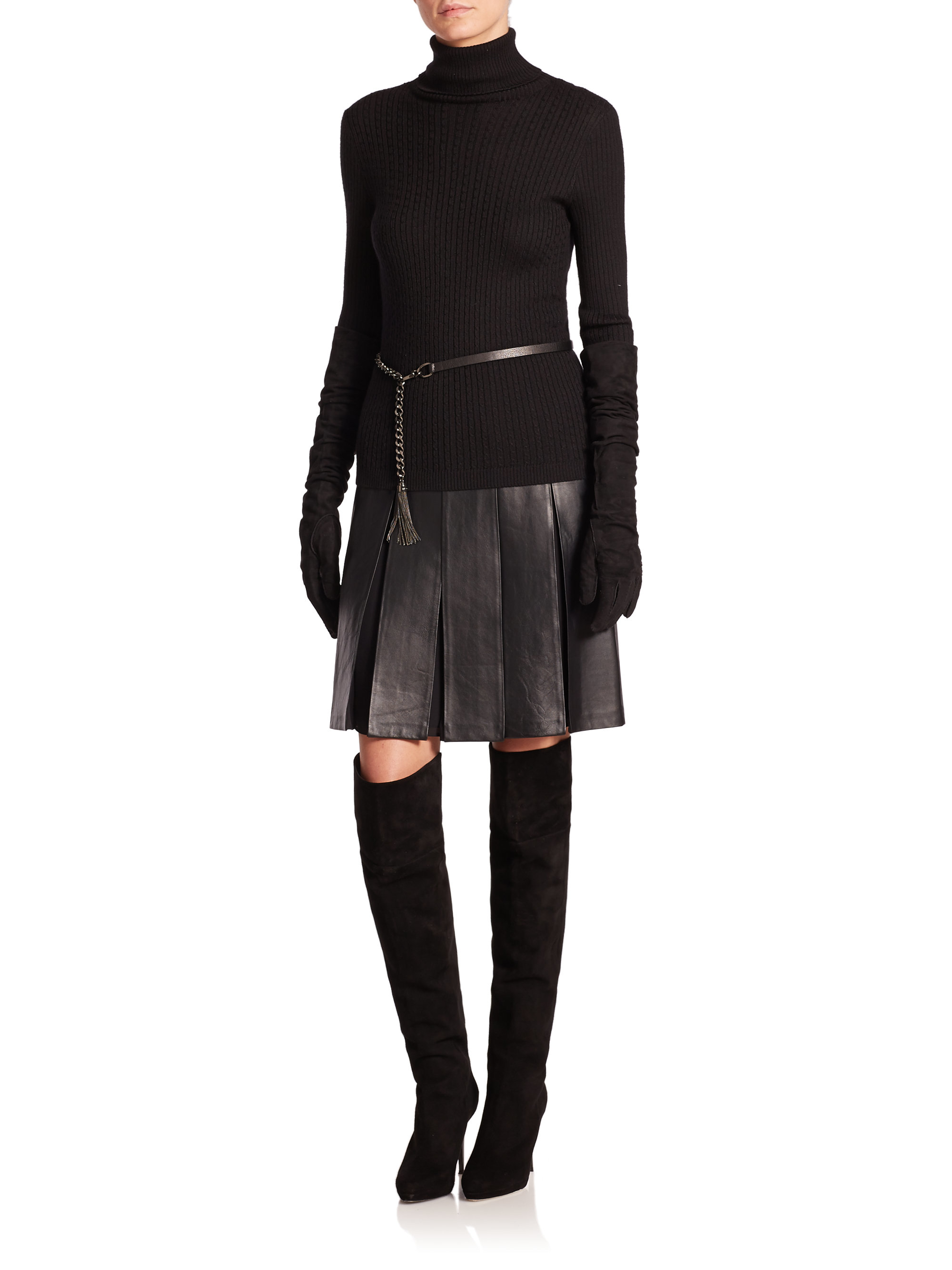 St. john Leather Pleated Skirt in Black | Lyst