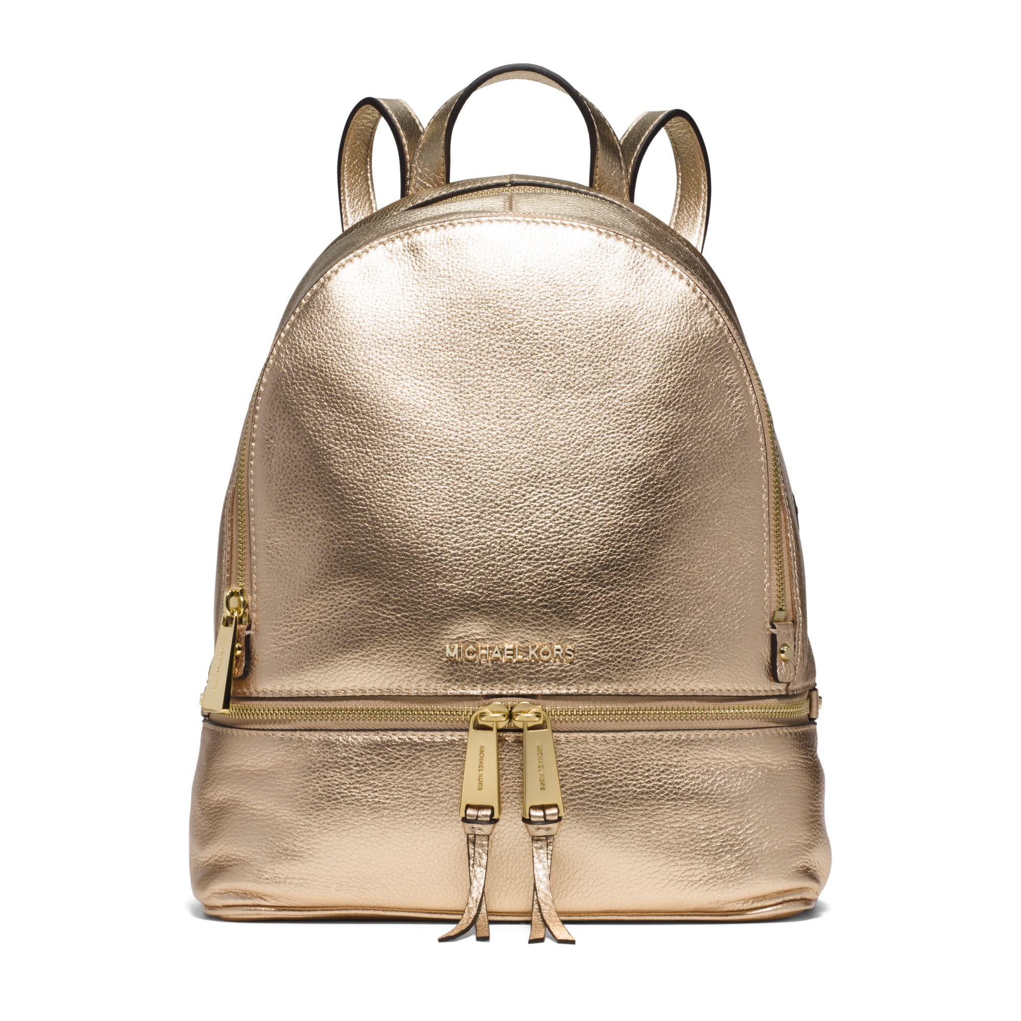 00ddf01ce091 Lyst - Michael Kors Rhea Medium Metallic-leather Backpack in Metallic