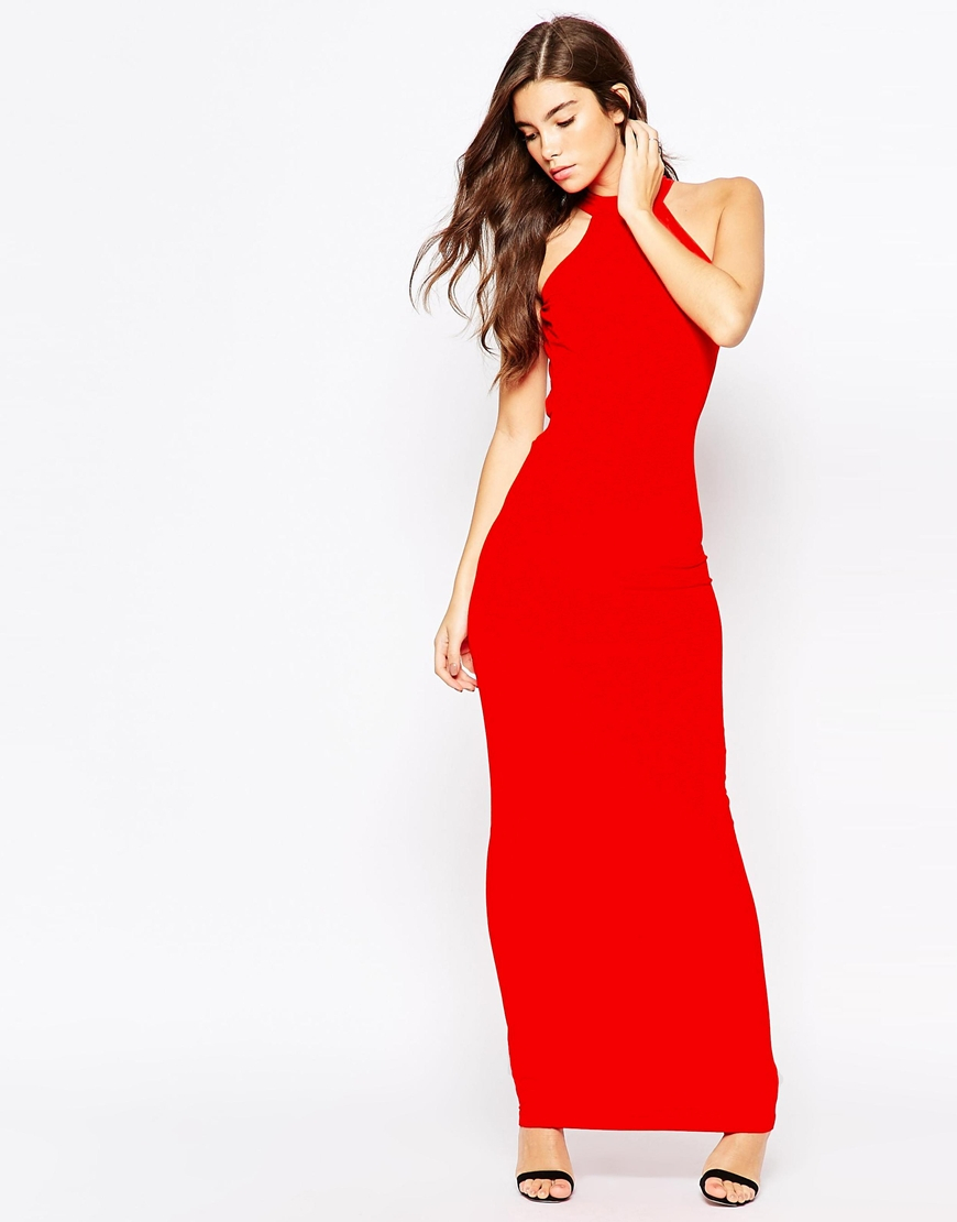 8ee4dd225183c0 ASOS Petite 90s High Neck Maxi Dress With Low Back in Red - Lyst