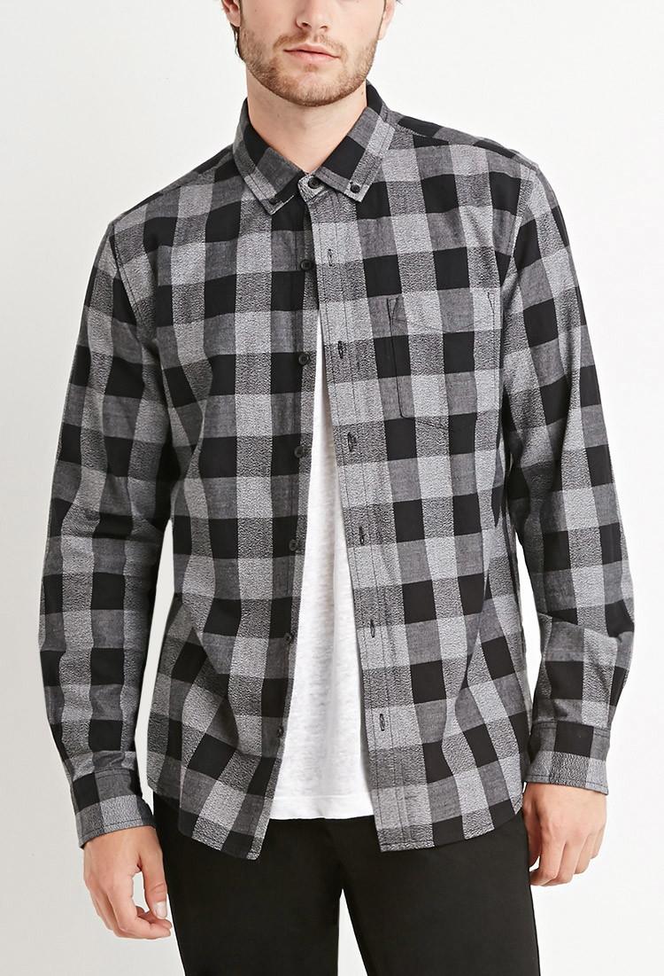 Forever 21 cotton plaid shirt in black for men white for Black plaid shirt mens