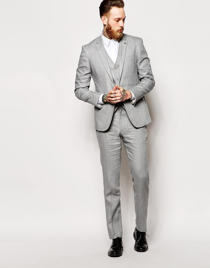 Asos Slim Fit Suit Trousers In 100% Linen in Gray for Men | Lyst