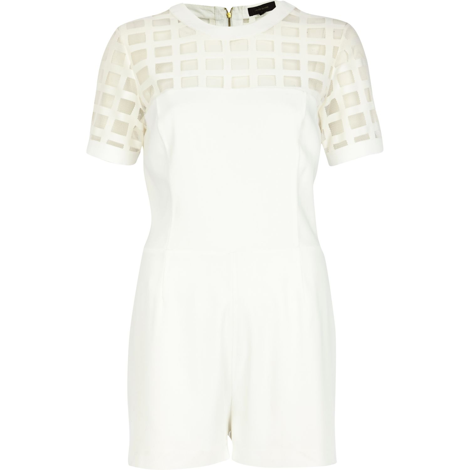 White Lace Playsuit River Island