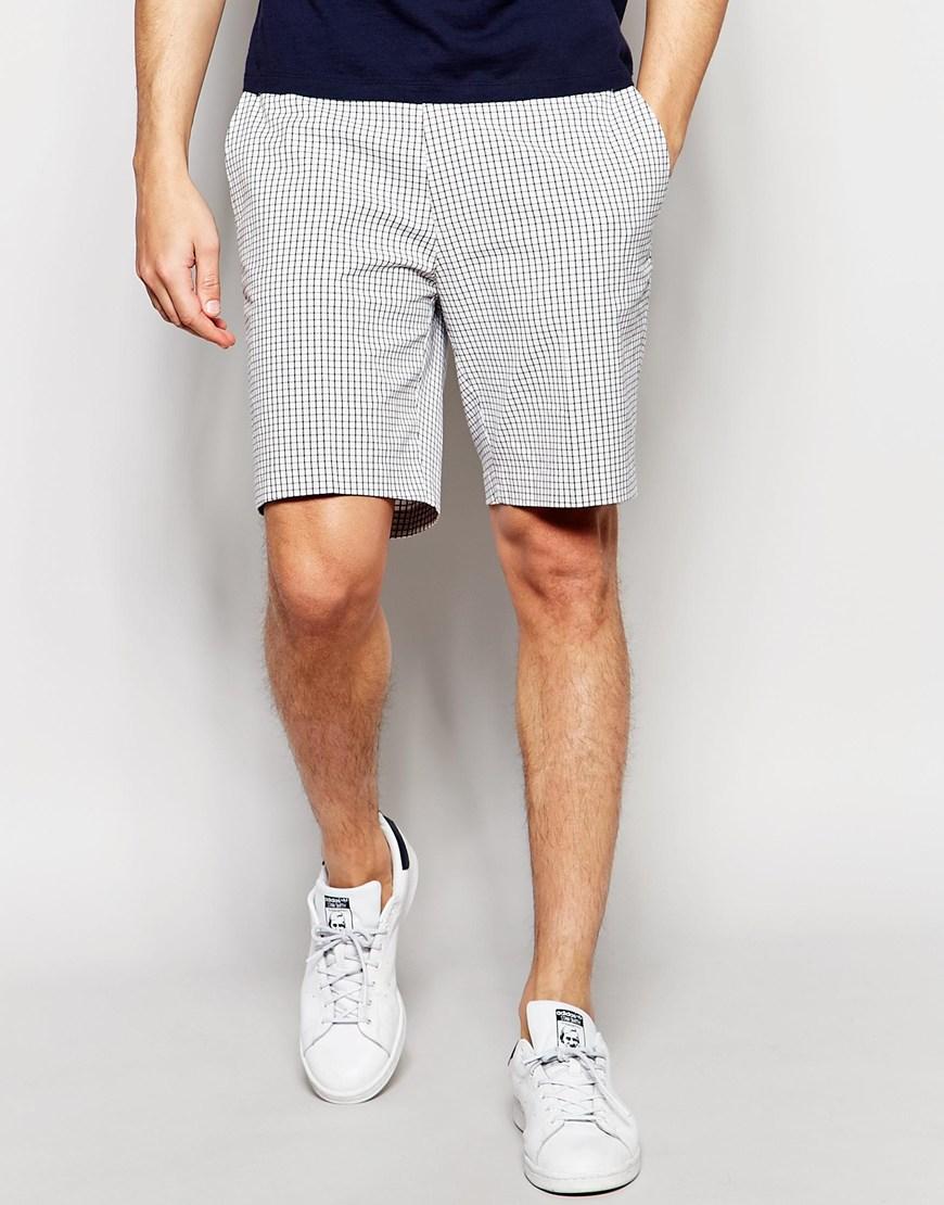Asos Slim Smart Shorts In White Check For Men Lyst