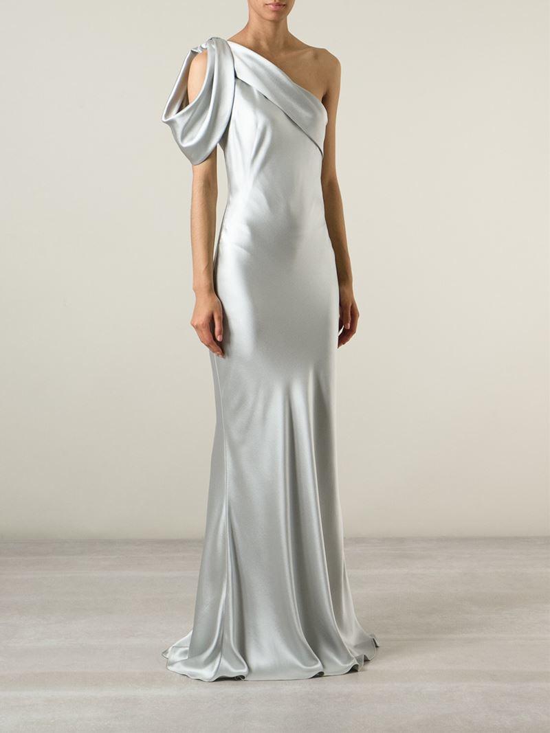 Lyst - Alexander Mcqueen One Shoulder Evening Gown in Metallic