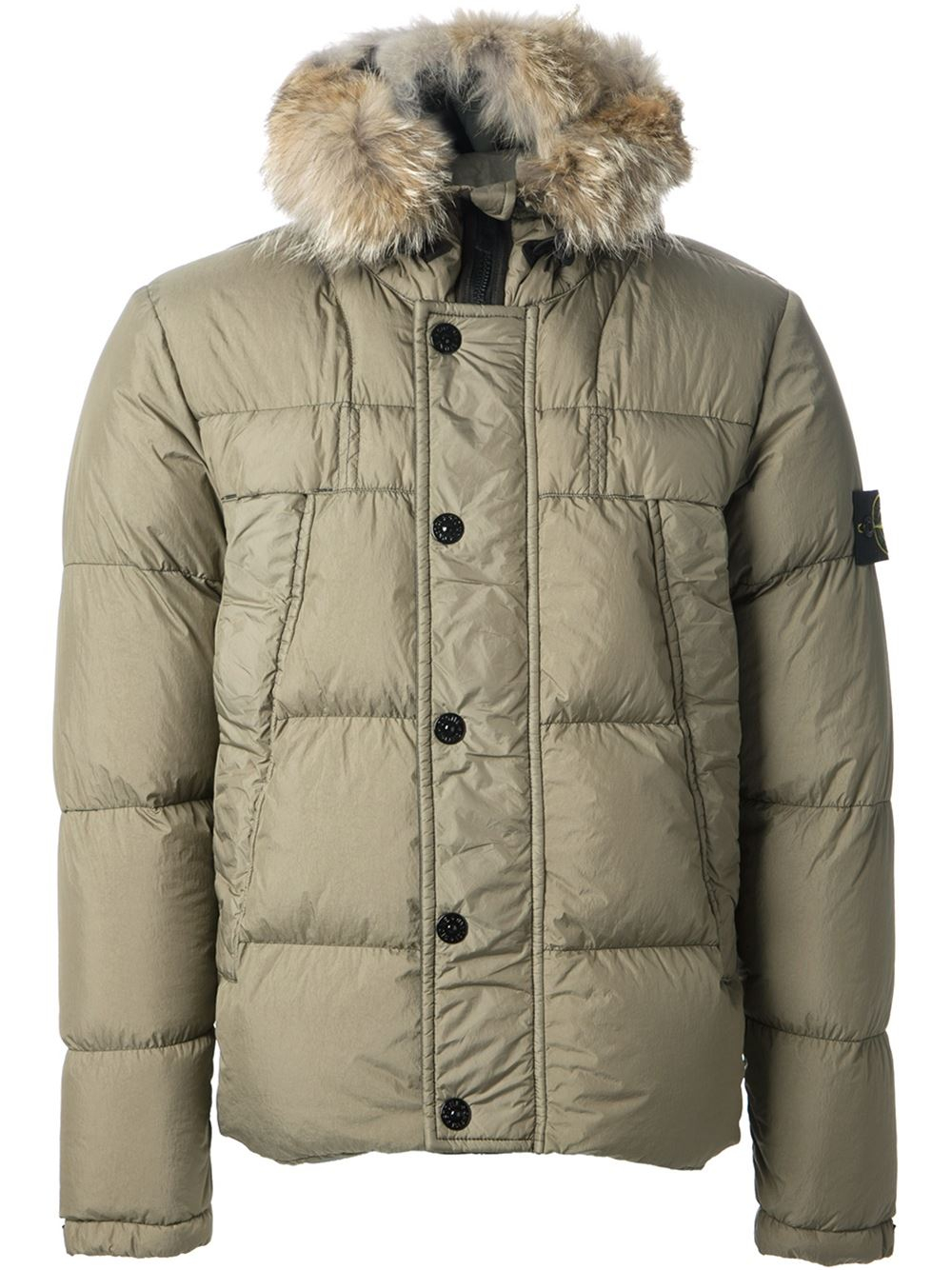 Stone Island Fur Trimmed Padded Jacket In Natural For Men