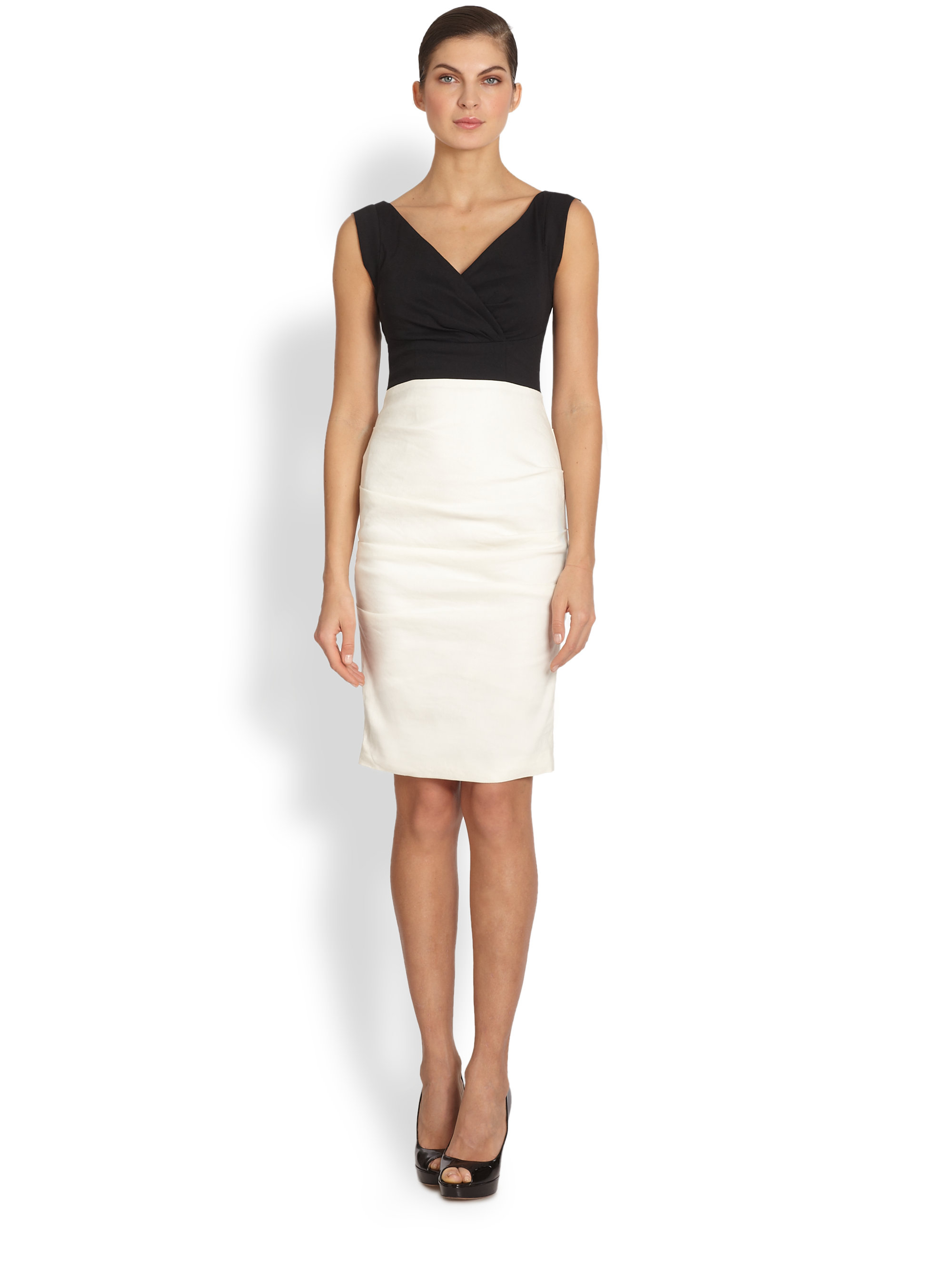 Nicole miller Andrea Two-tone Cocktail Dress in Black | Lyst