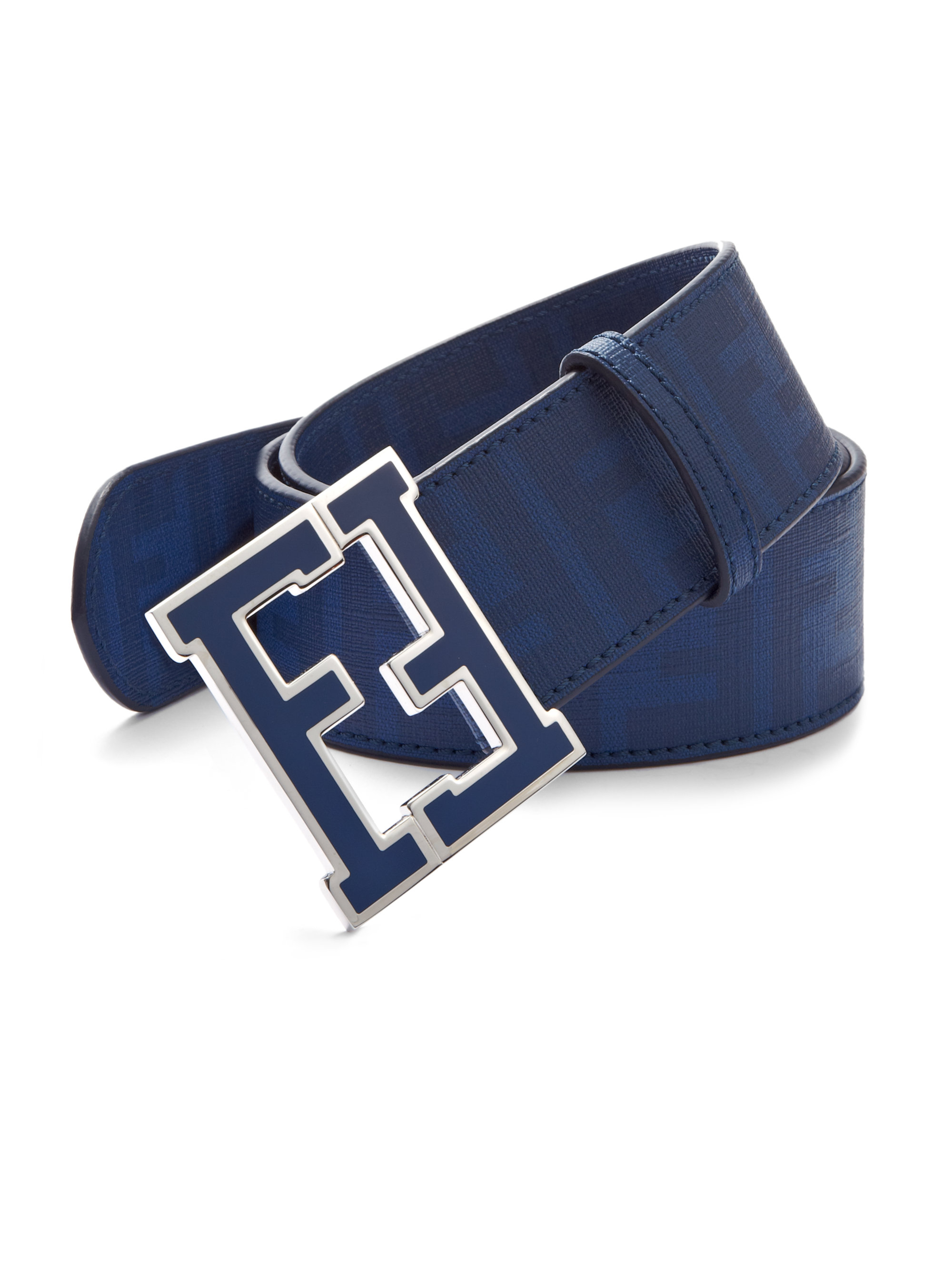 Fendi Logo College Belt in Blue for Men (COBALT) | Lyst