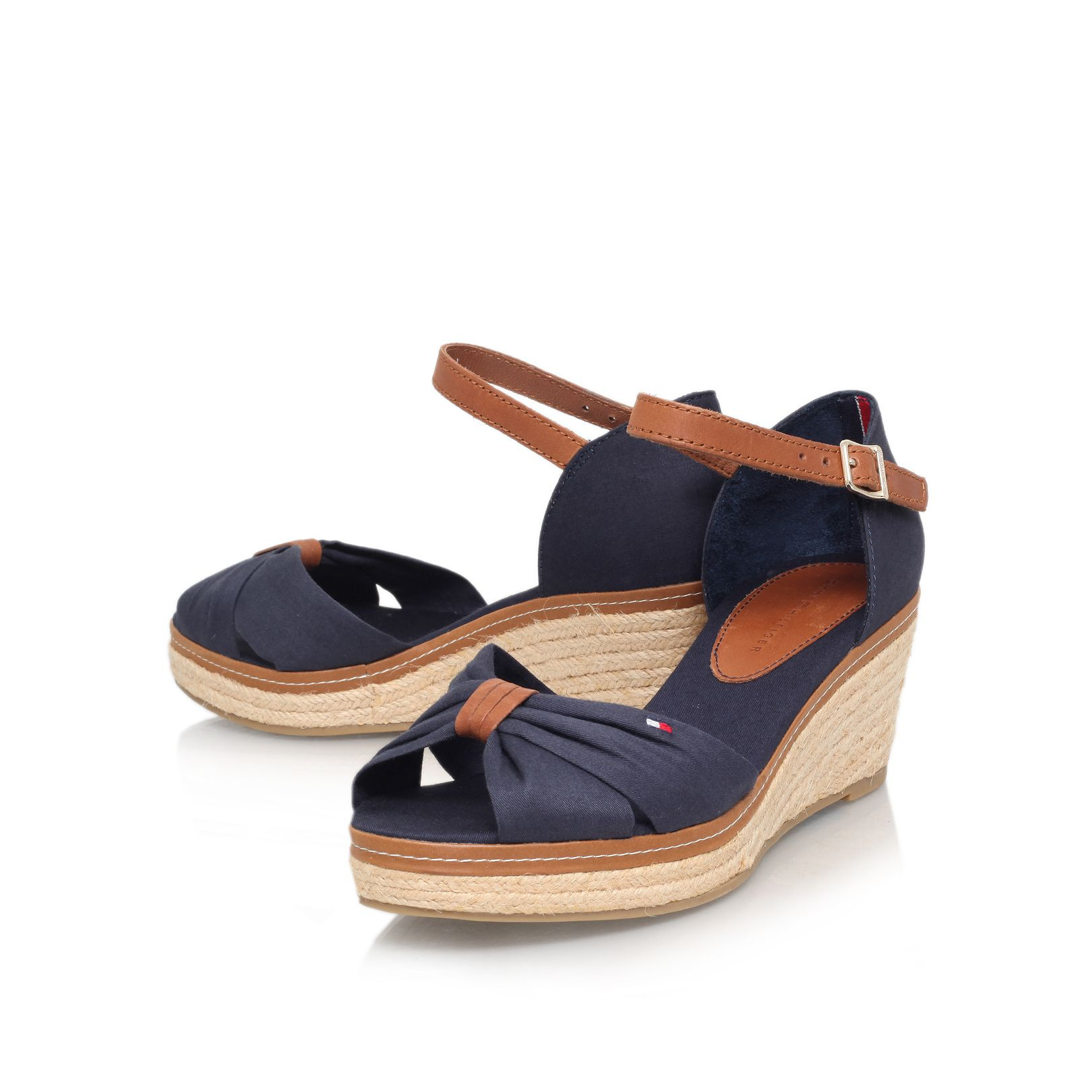 tommy hilfiger elba 19d mid wedge heel sandals in blue lyst. Black Bedroom Furniture Sets. Home Design Ideas