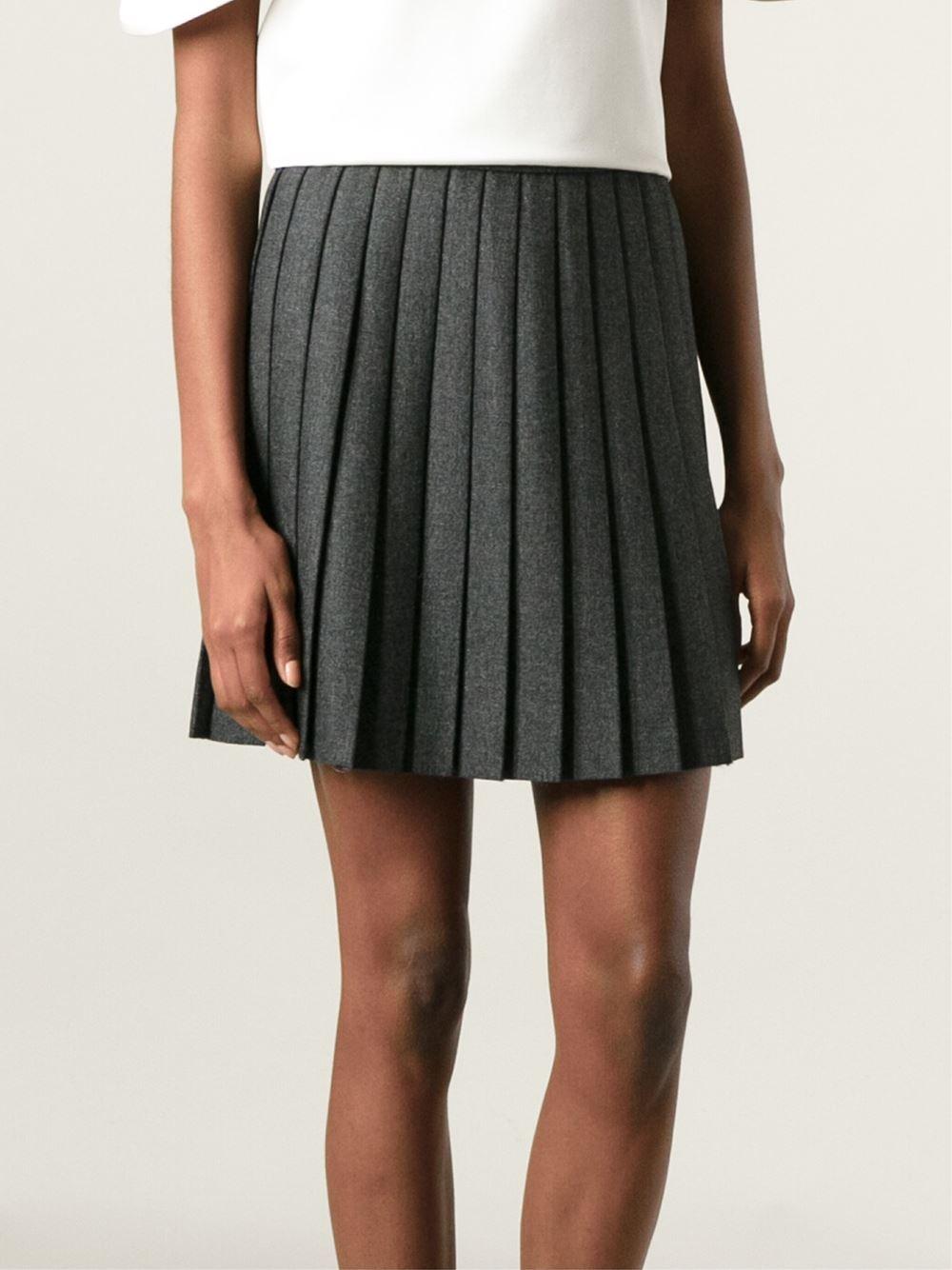 laurent pleated mini skirt in gray lyst