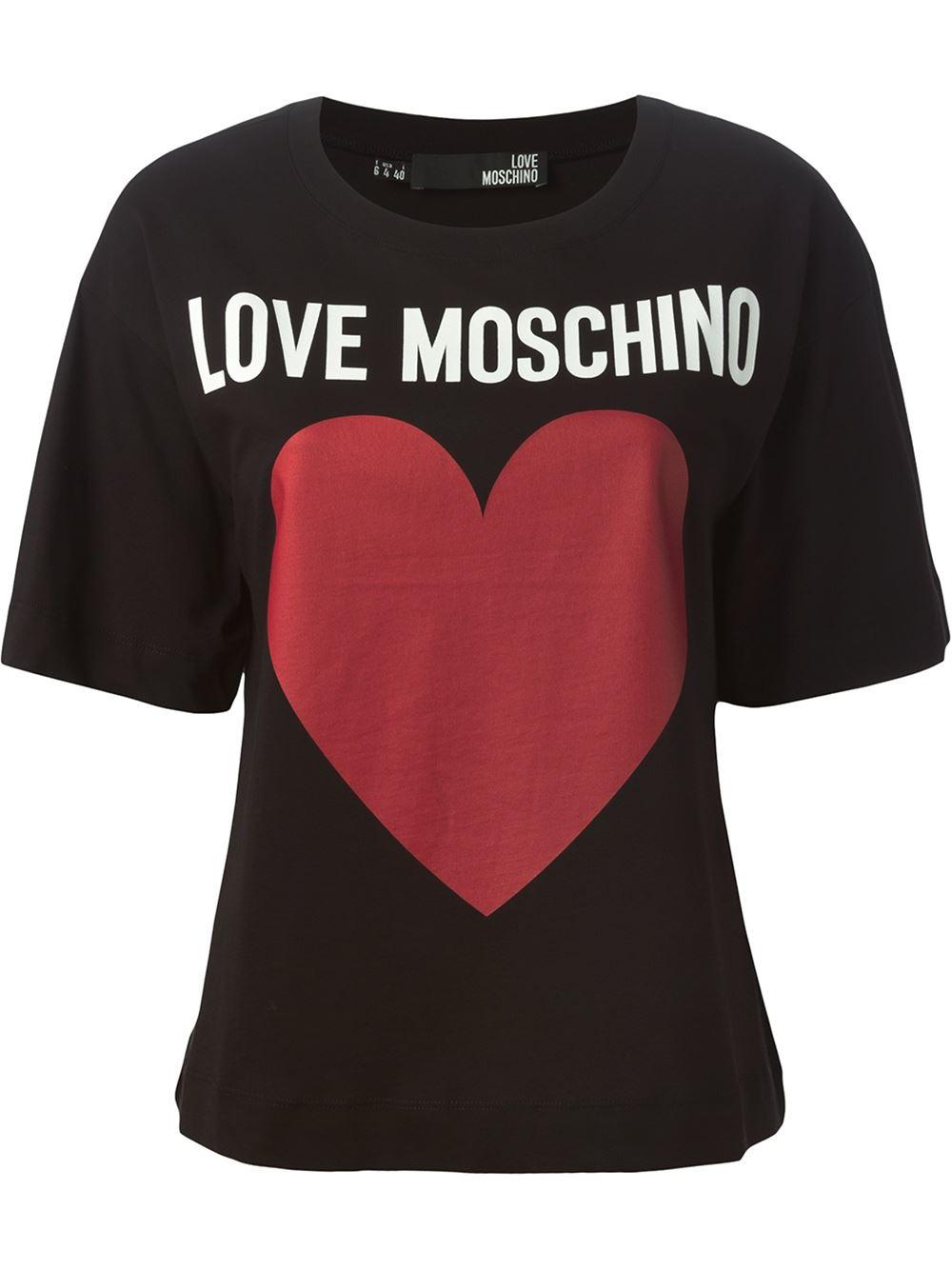 love moschino logo print t shirt in black lyst. Black Bedroom Furniture Sets. Home Design Ideas