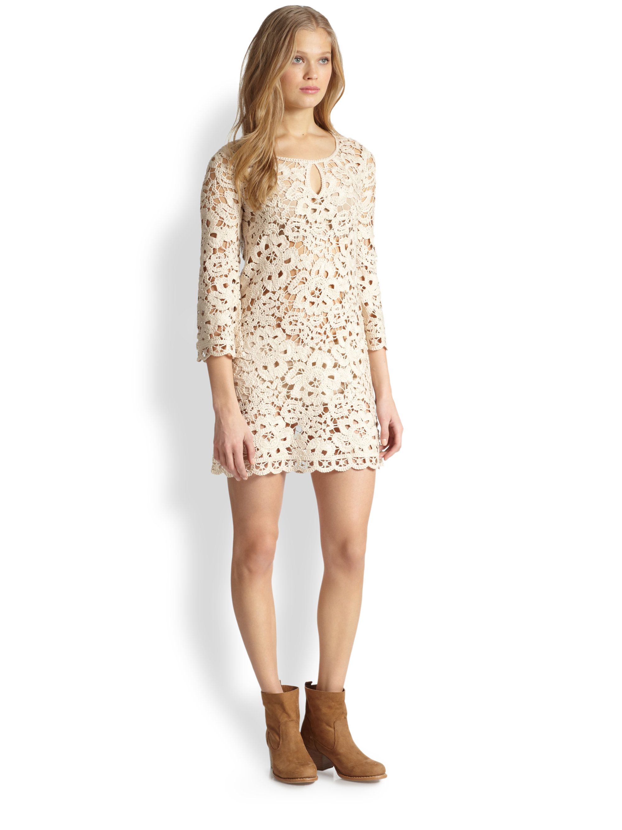 58431e5a270 Lyst - BCBGMAXAZRIA Crocheted Lace Dress in Natural