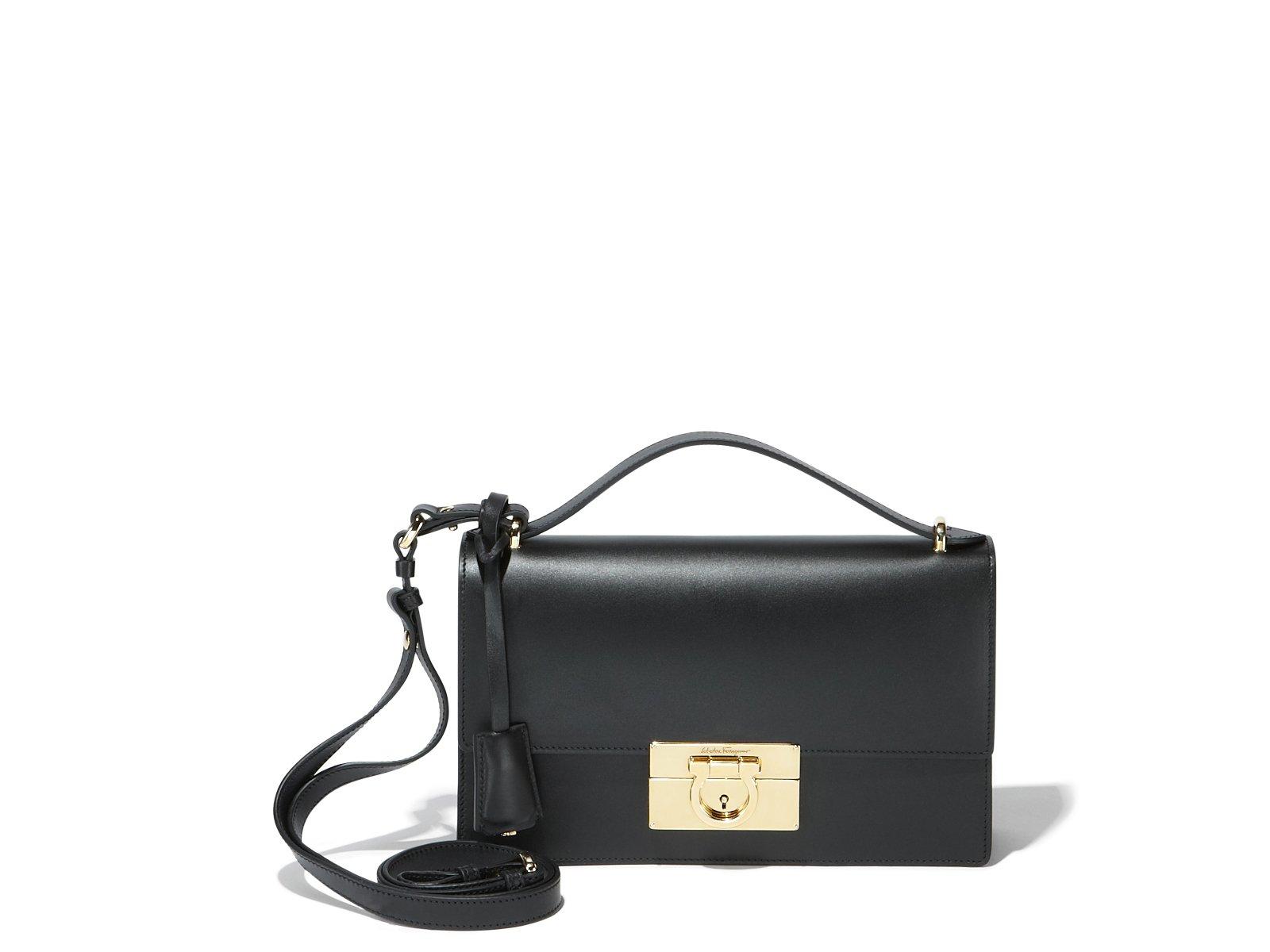 f6d5575dc810 Lyst - Ferragamo Gancio Lock Shoulder Bag in Black