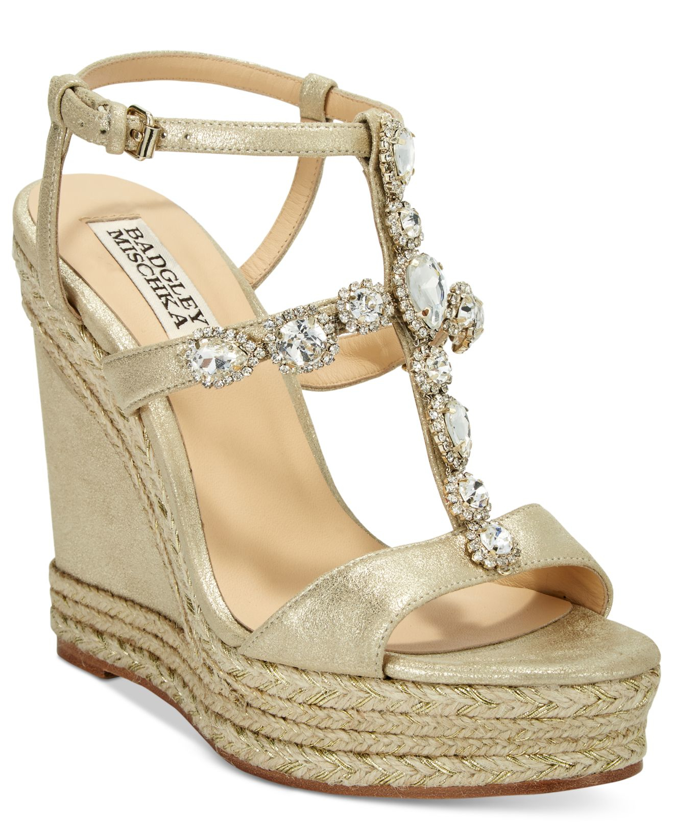 Badgley Mischka Coco Evening Wedge Sandals In Natural Lyst