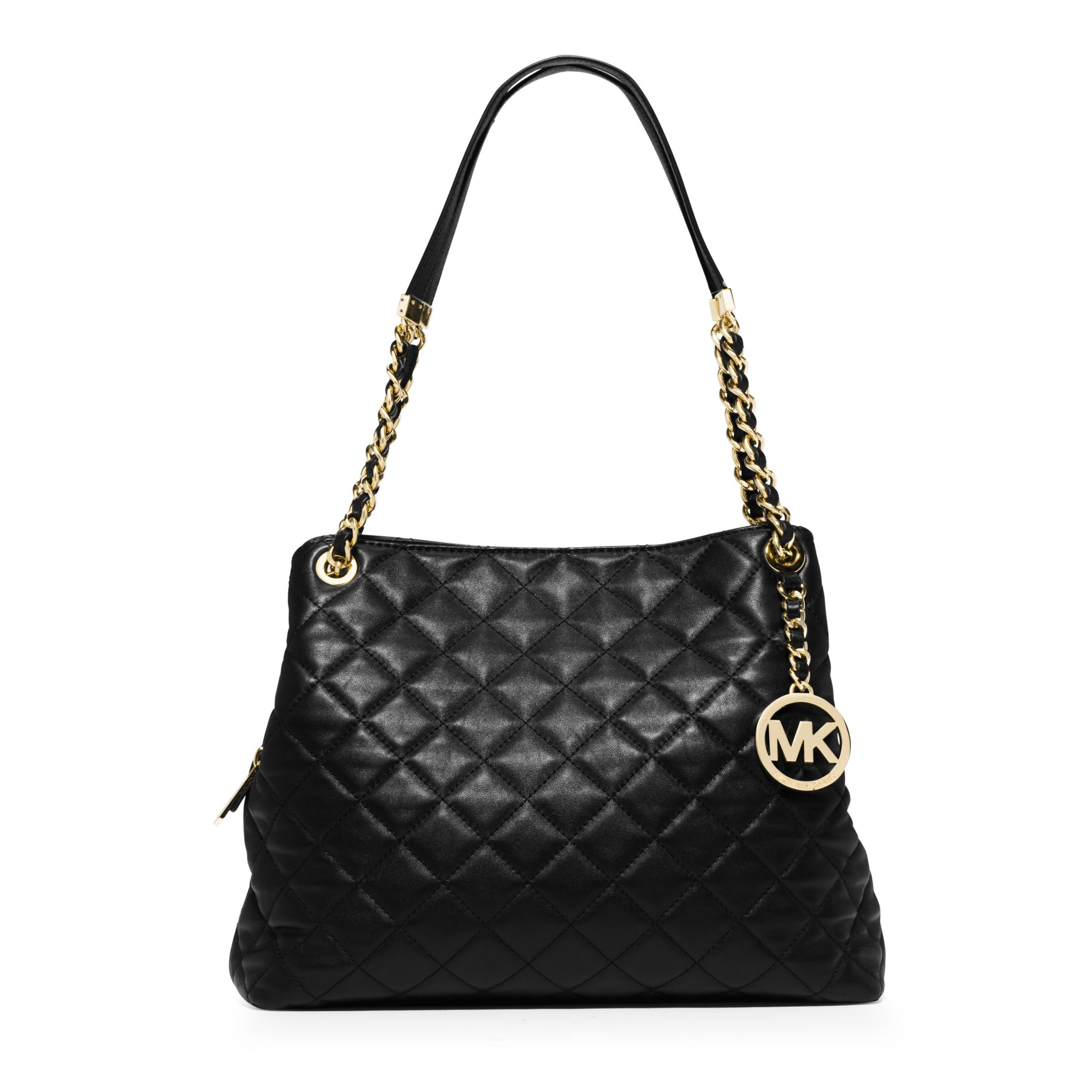 lyst michael kors susannah large quilted leather shoulder bag in black rh lyst com