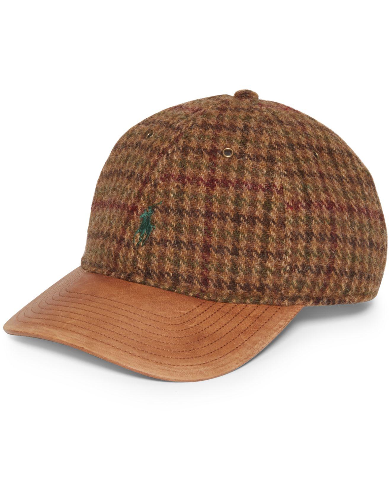polo ralph lauren tweed baseball cap in brown for men lyst. Black Bedroom Furniture Sets. Home Design Ideas