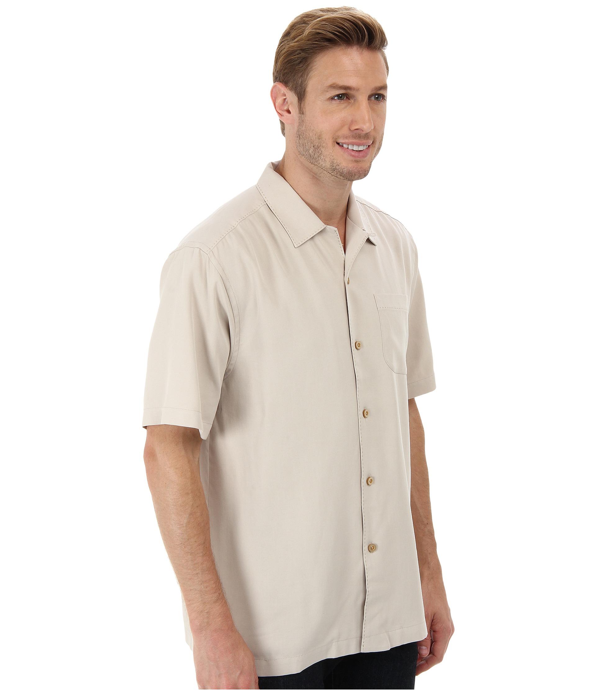 Tommy bahama catalina twill camp shirt in natural for men for Tommy bahama catalina twill silk camp shirt